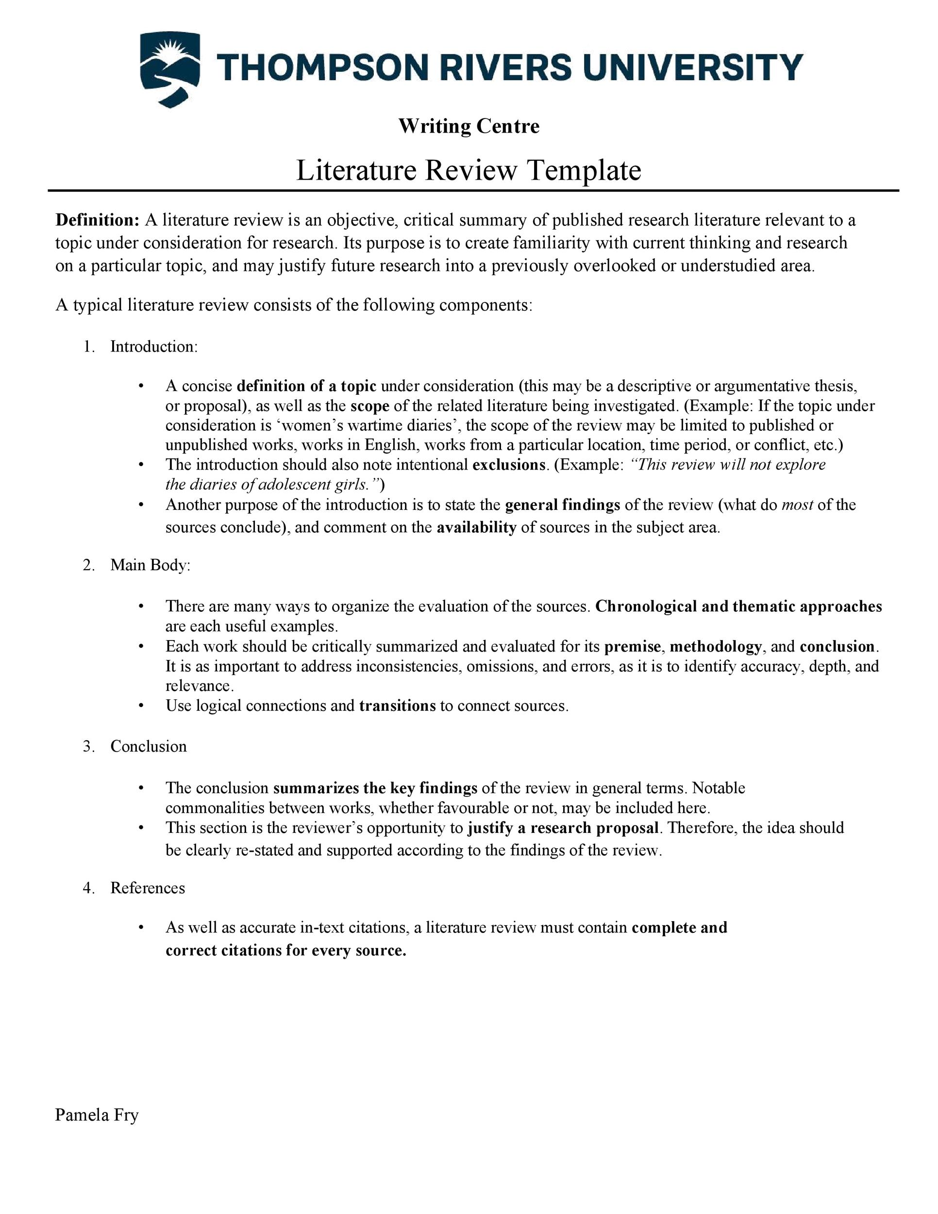 Free literature review template 01