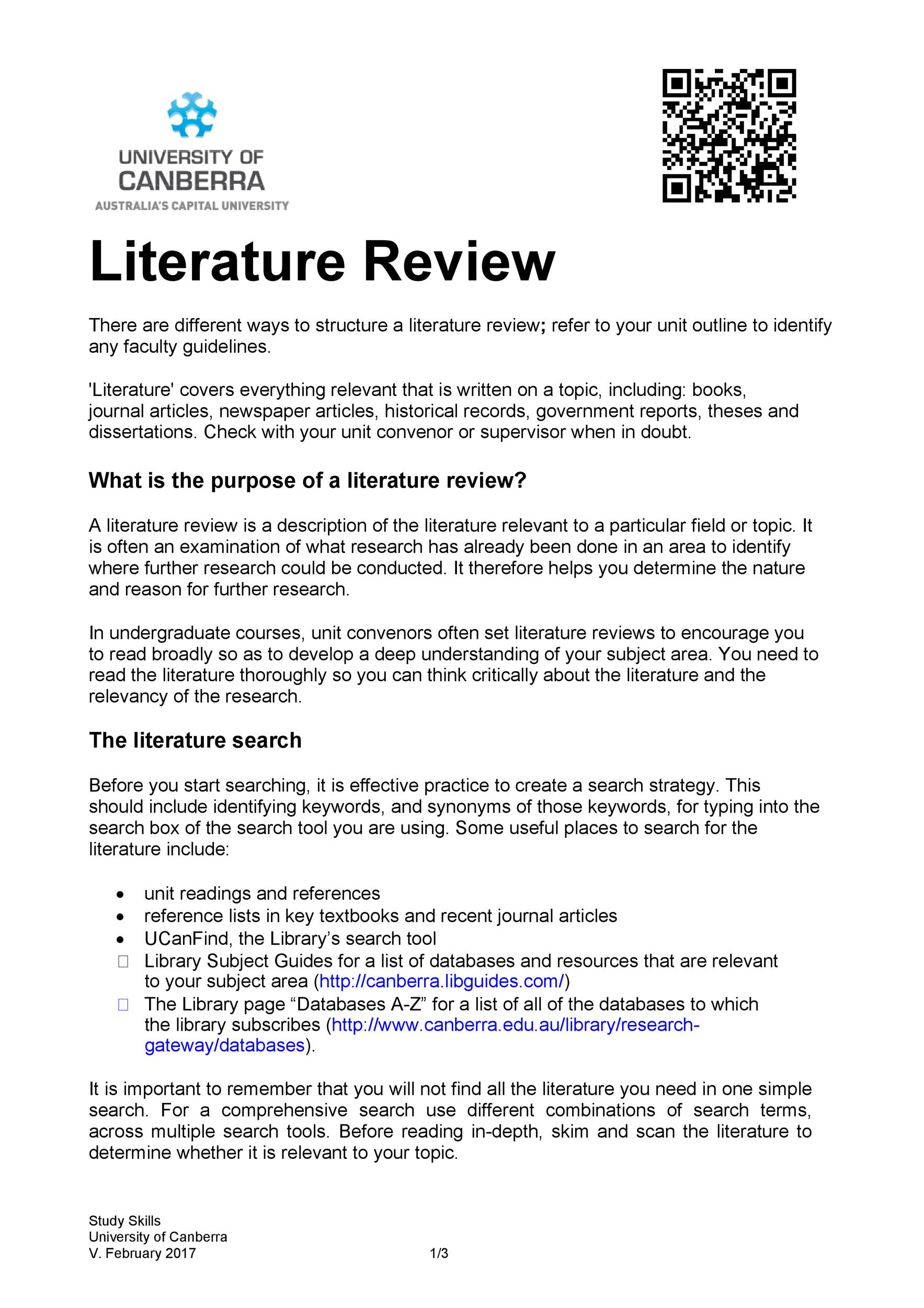 Free literature review template 09