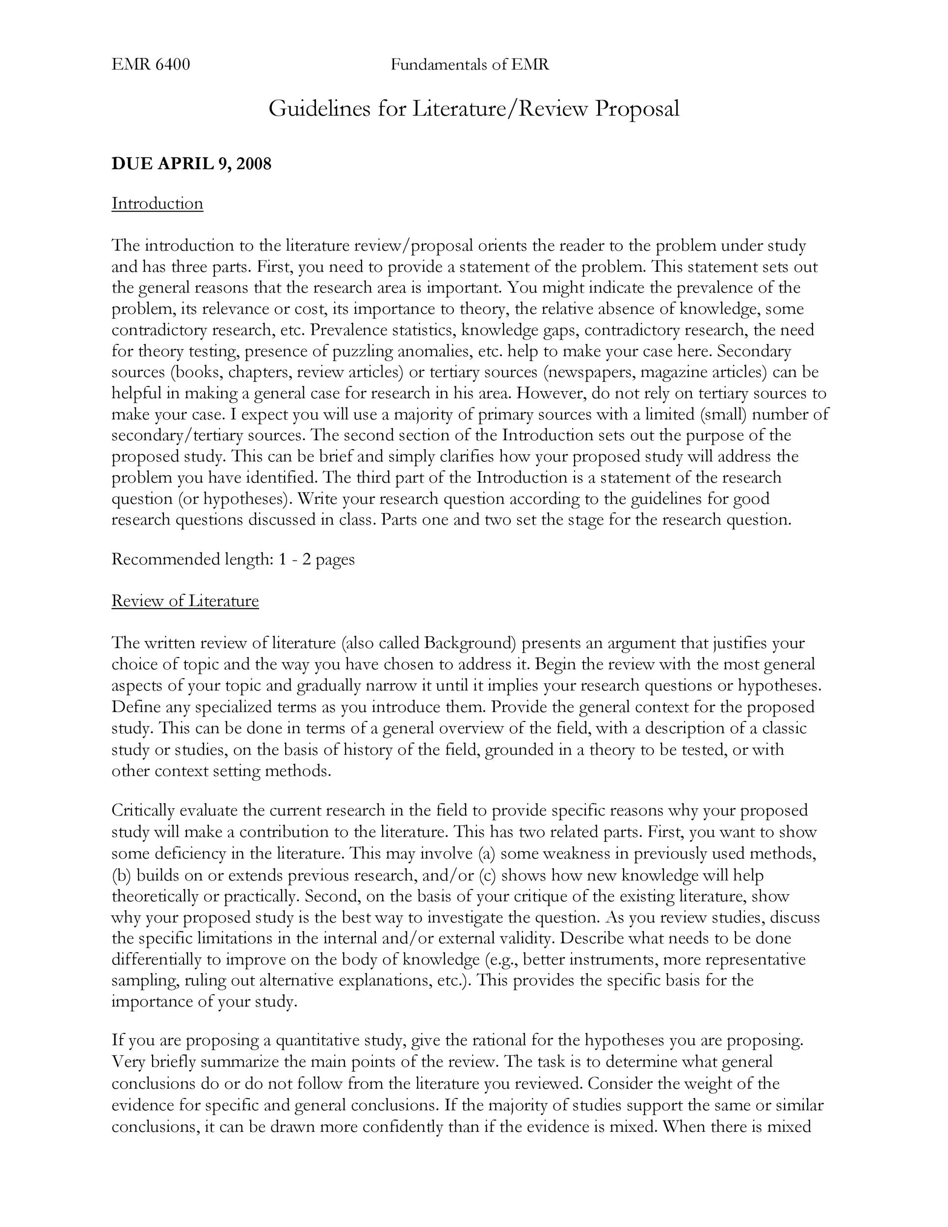 Free literature review template 11