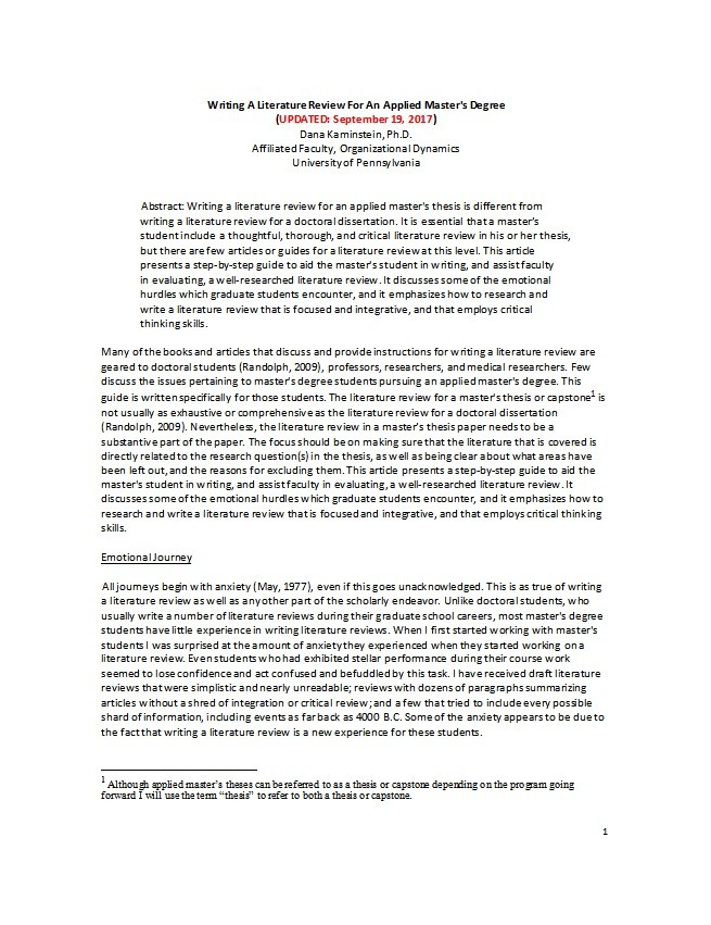 Free literature review template 13