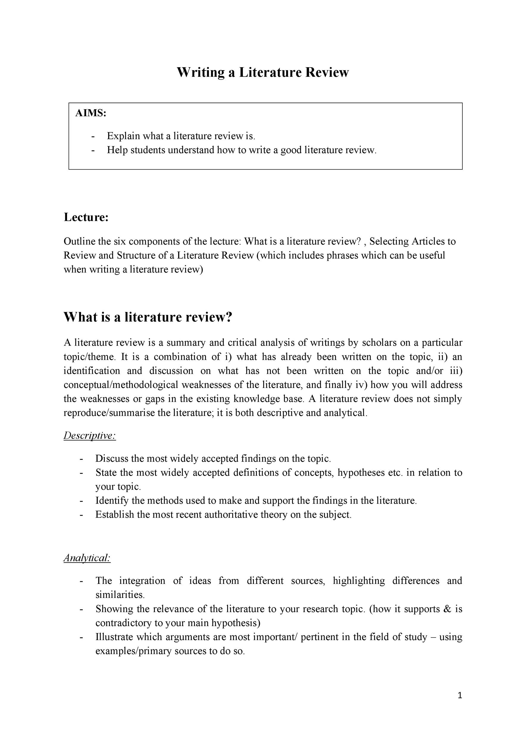 Free literature review template 20