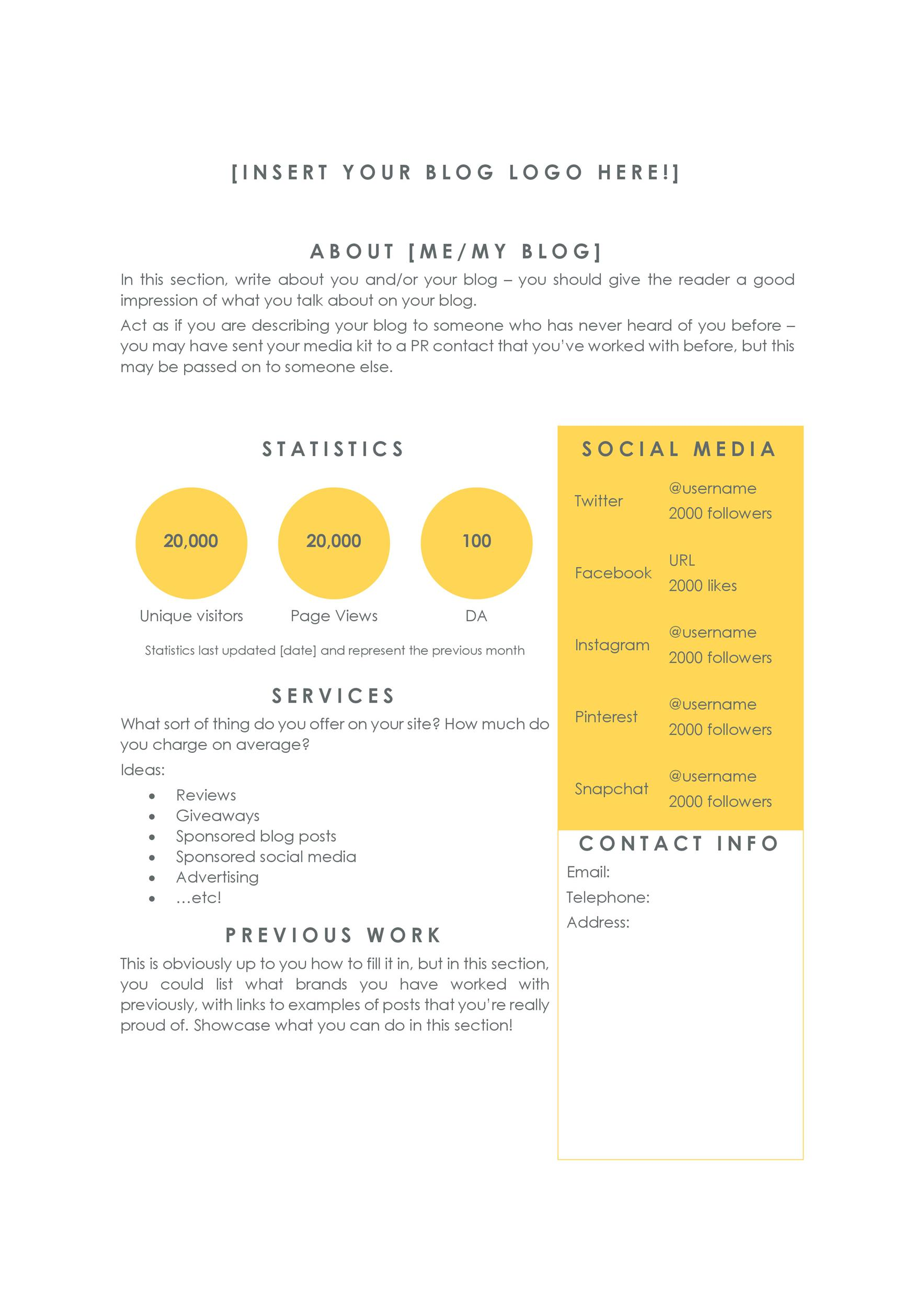 Free media kit template 01