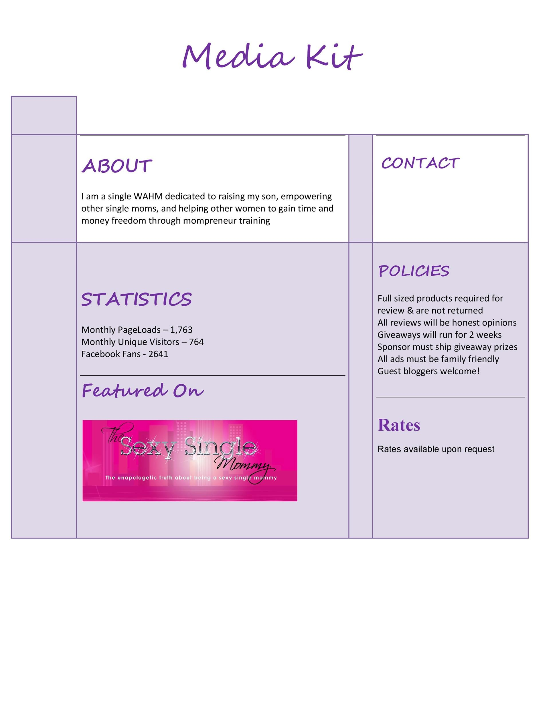Free media kit template 07