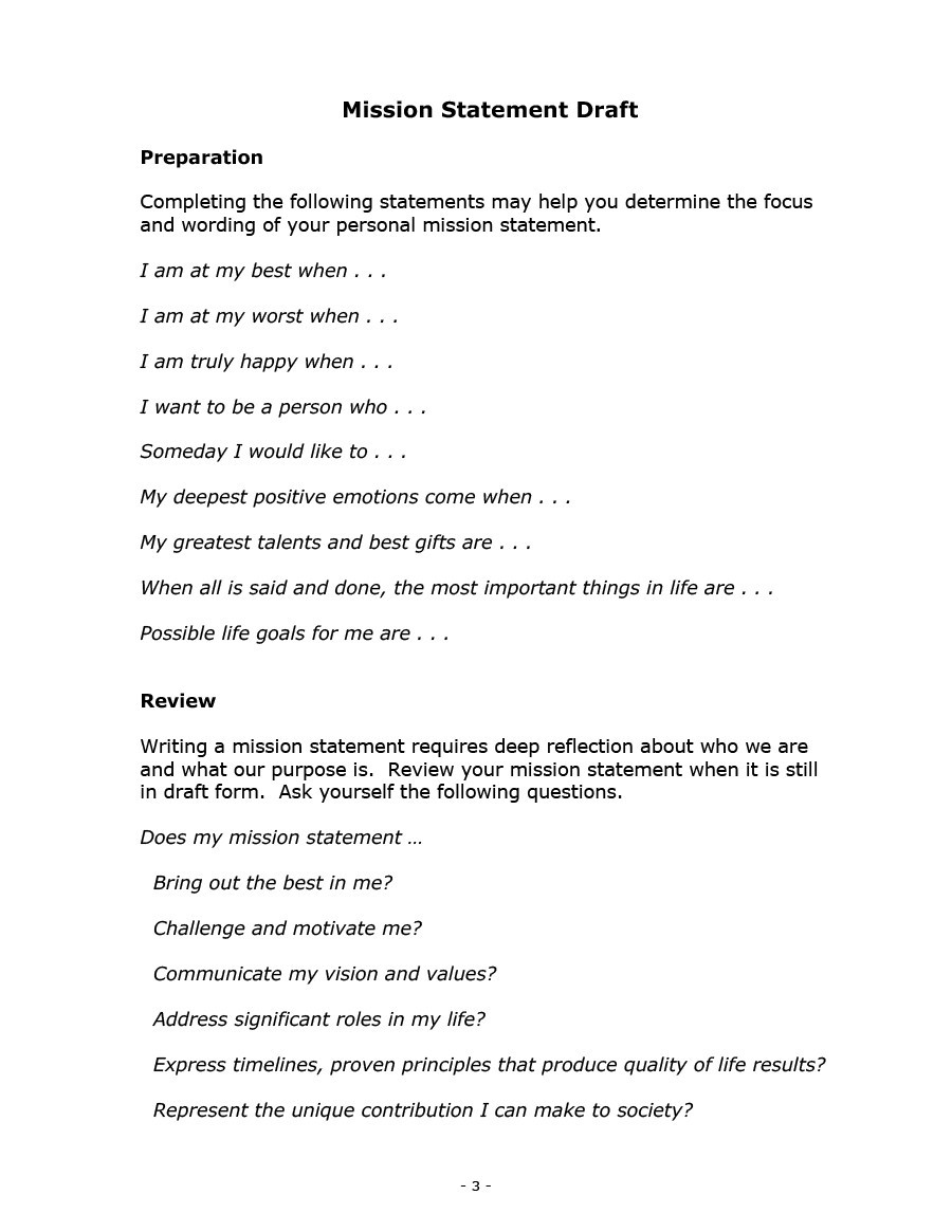 Free mission statement template 10