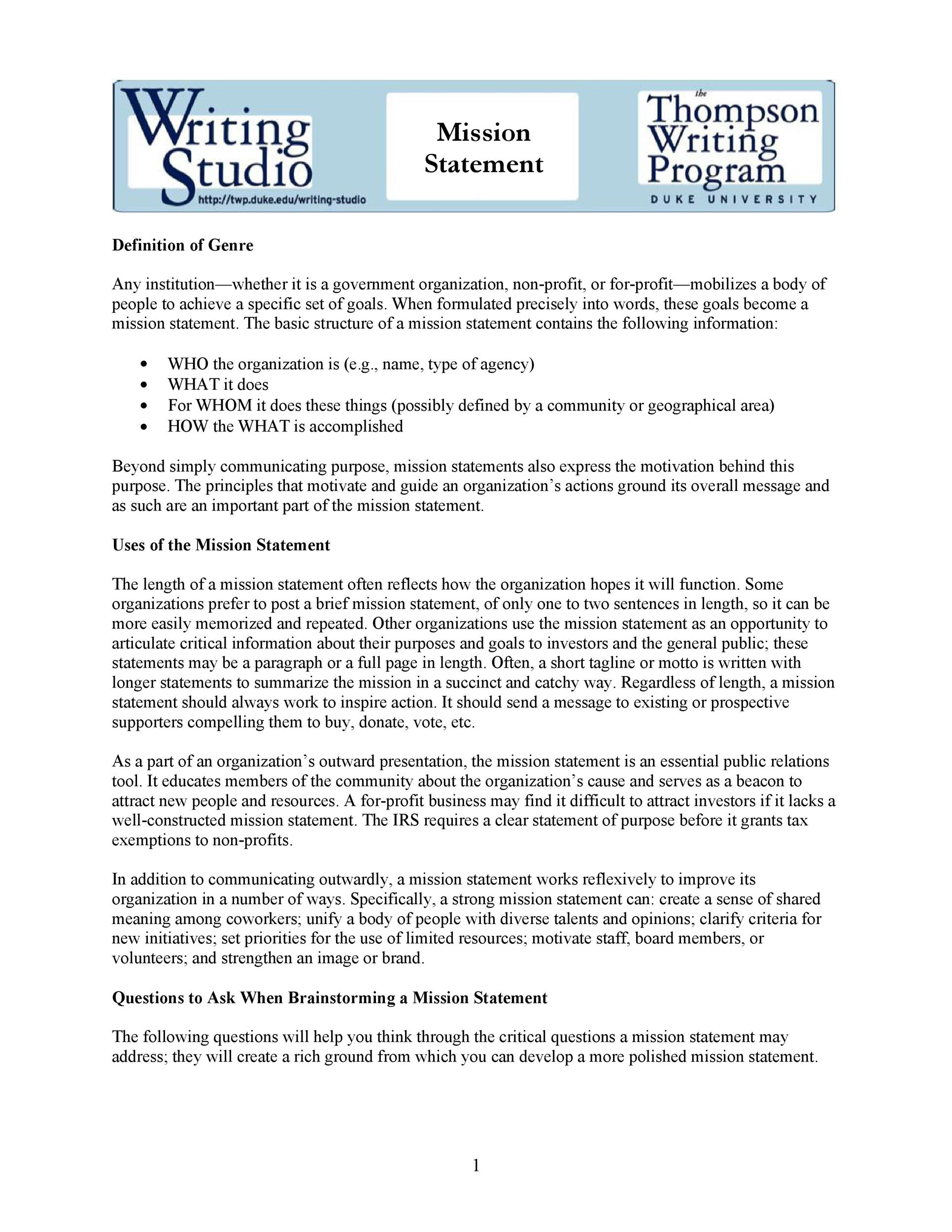 Free mission statement template 24
