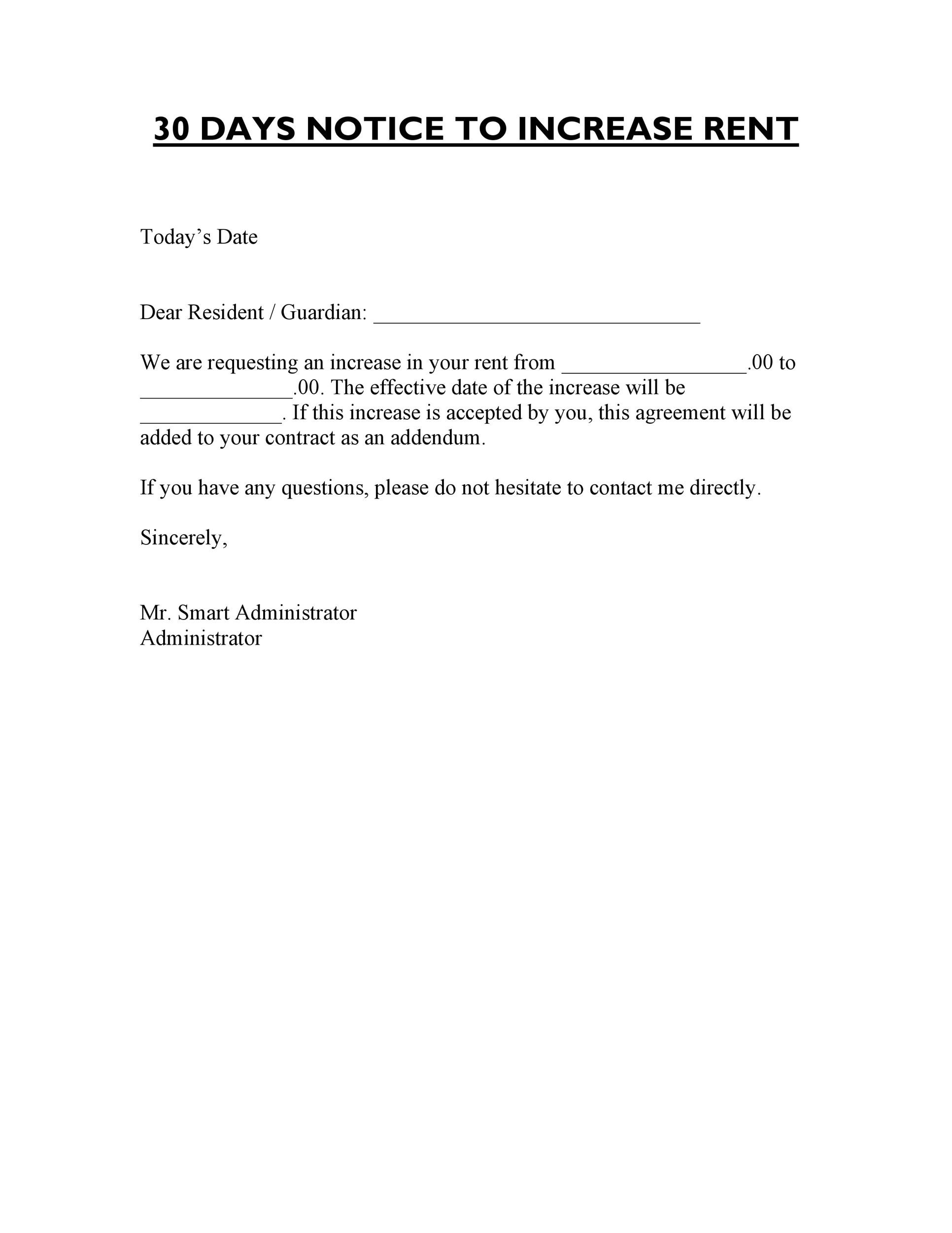 Free rent increase letter 05