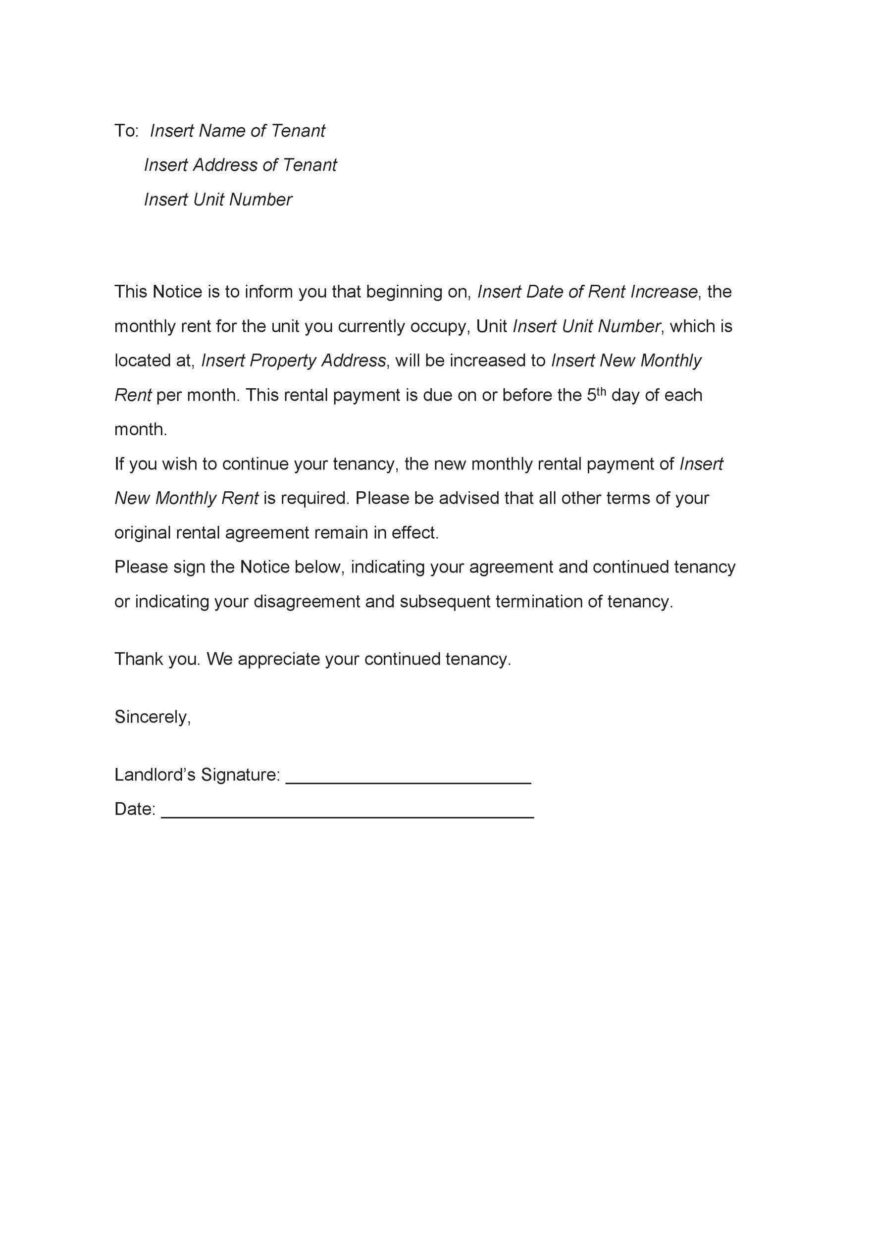 Free rent increase letter 23