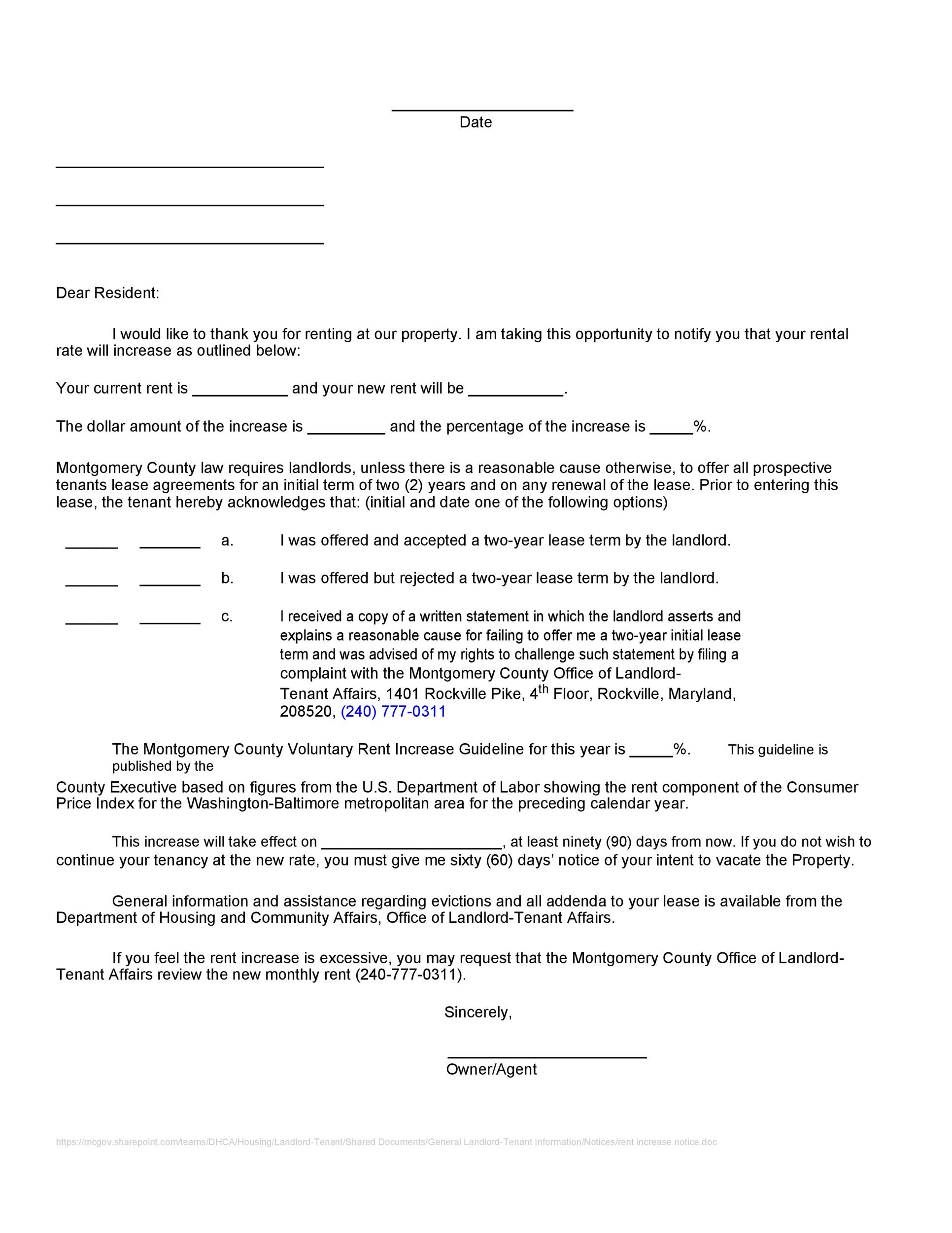 Rent Increase Letter Doc from templatelab.com