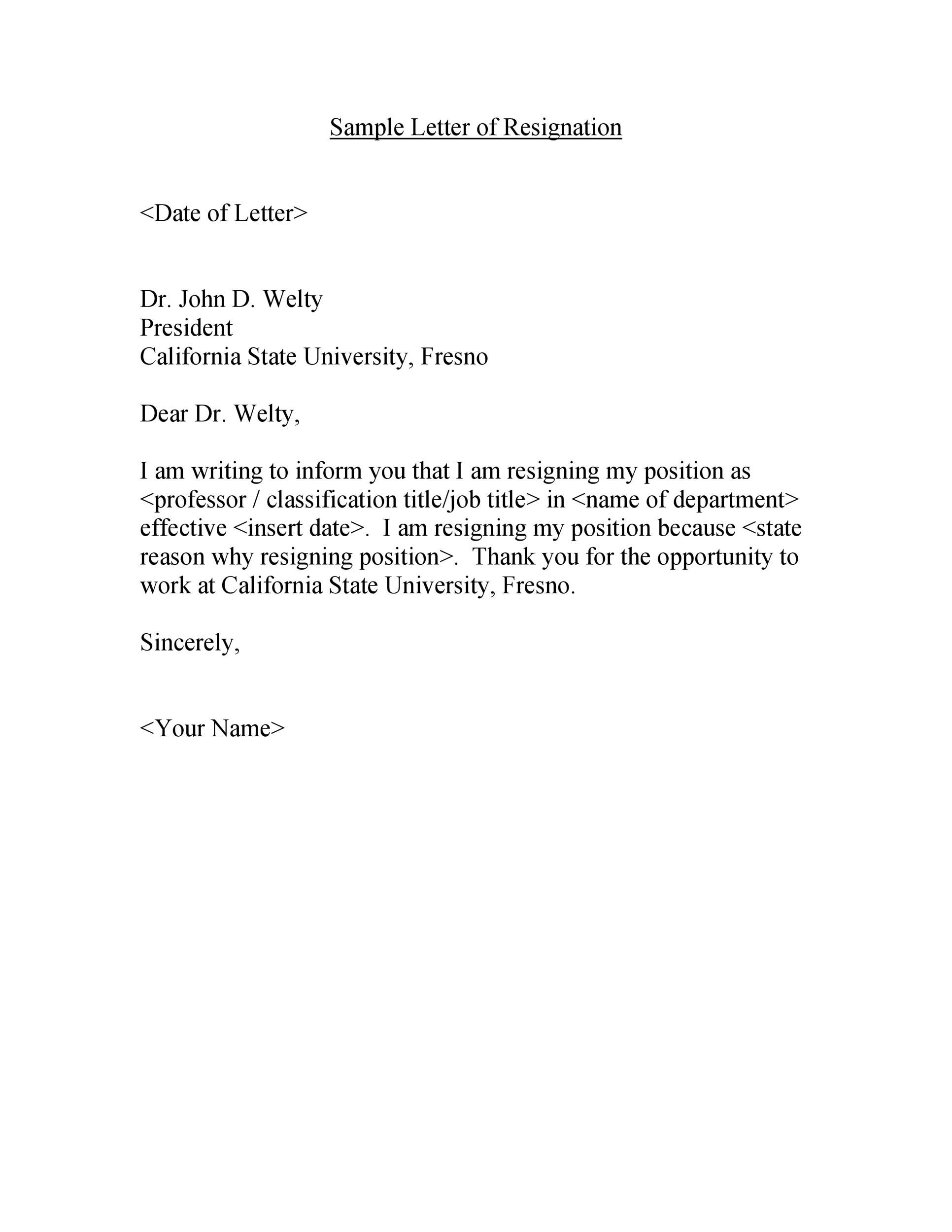 Resign From A Job Letter from templatelab.com