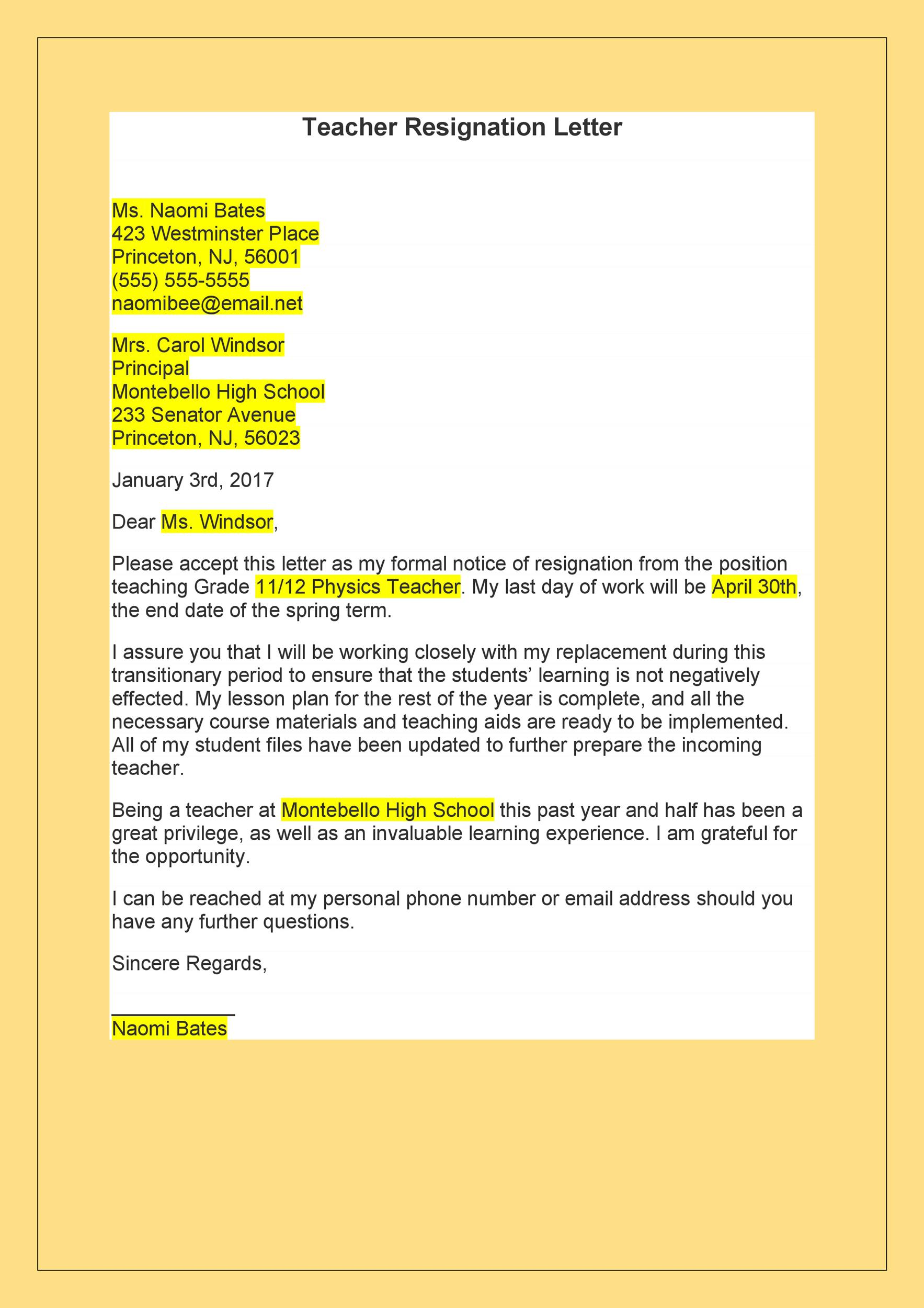 Free teacher resignation letter 02