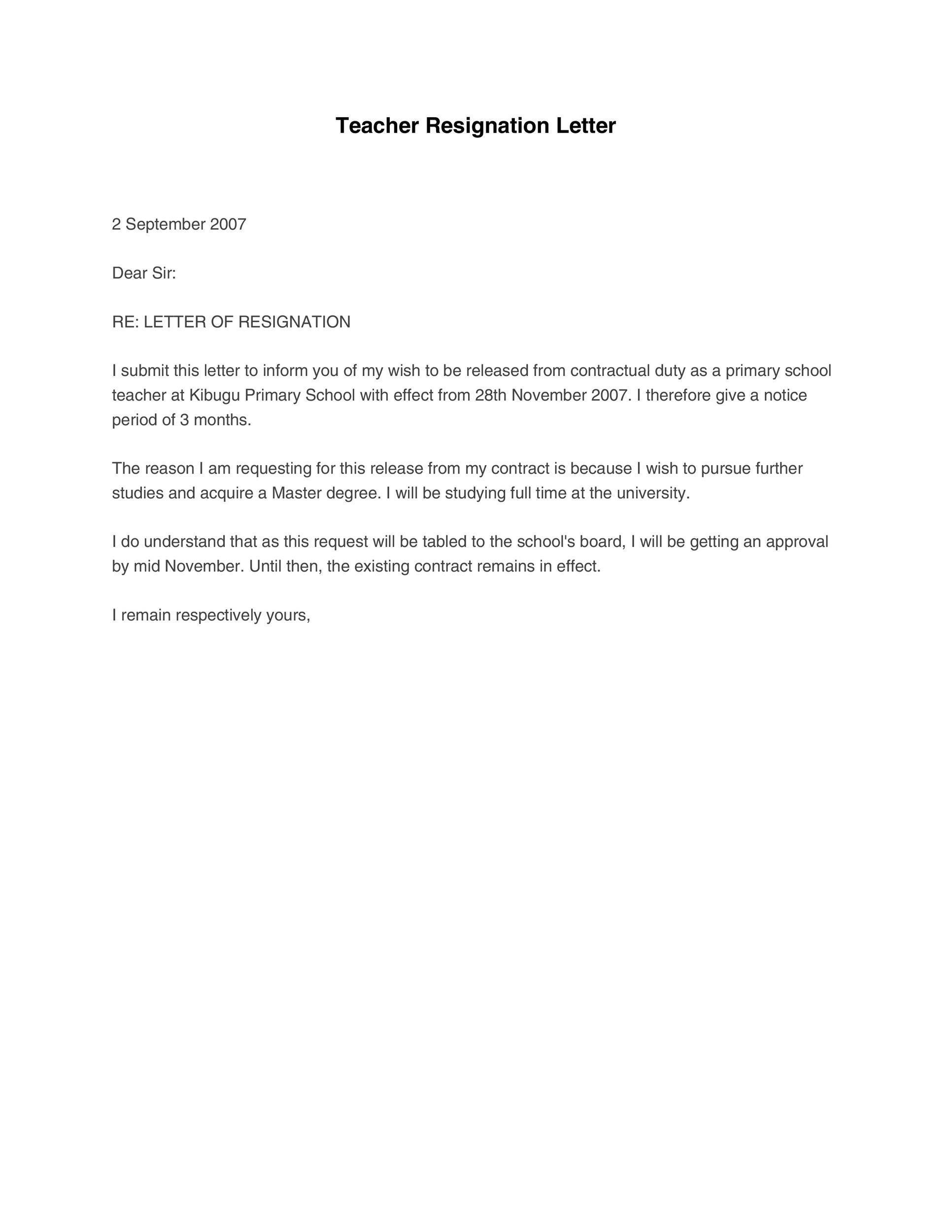 Free teacher resignation letter 03