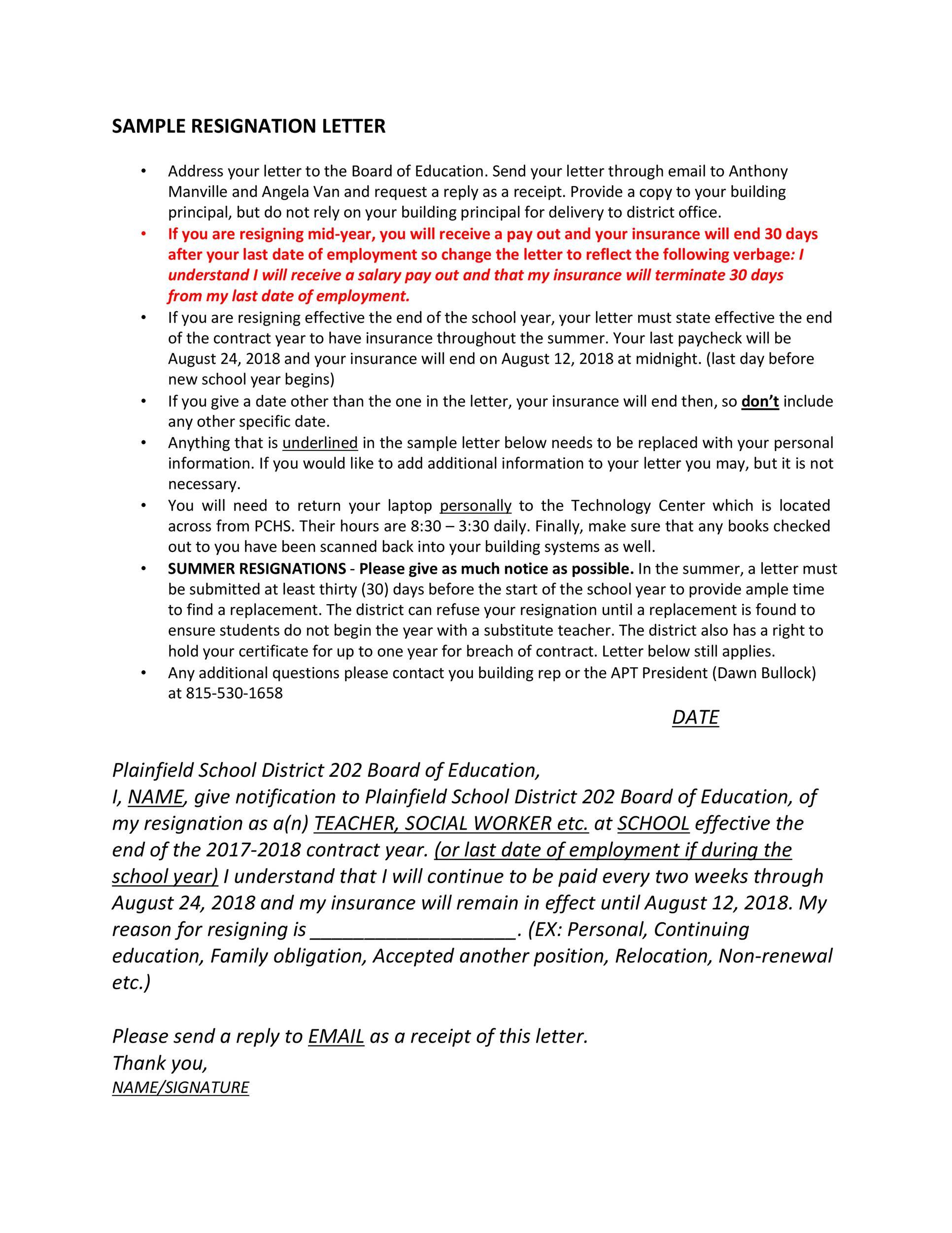 Free teacher resignation letter 04