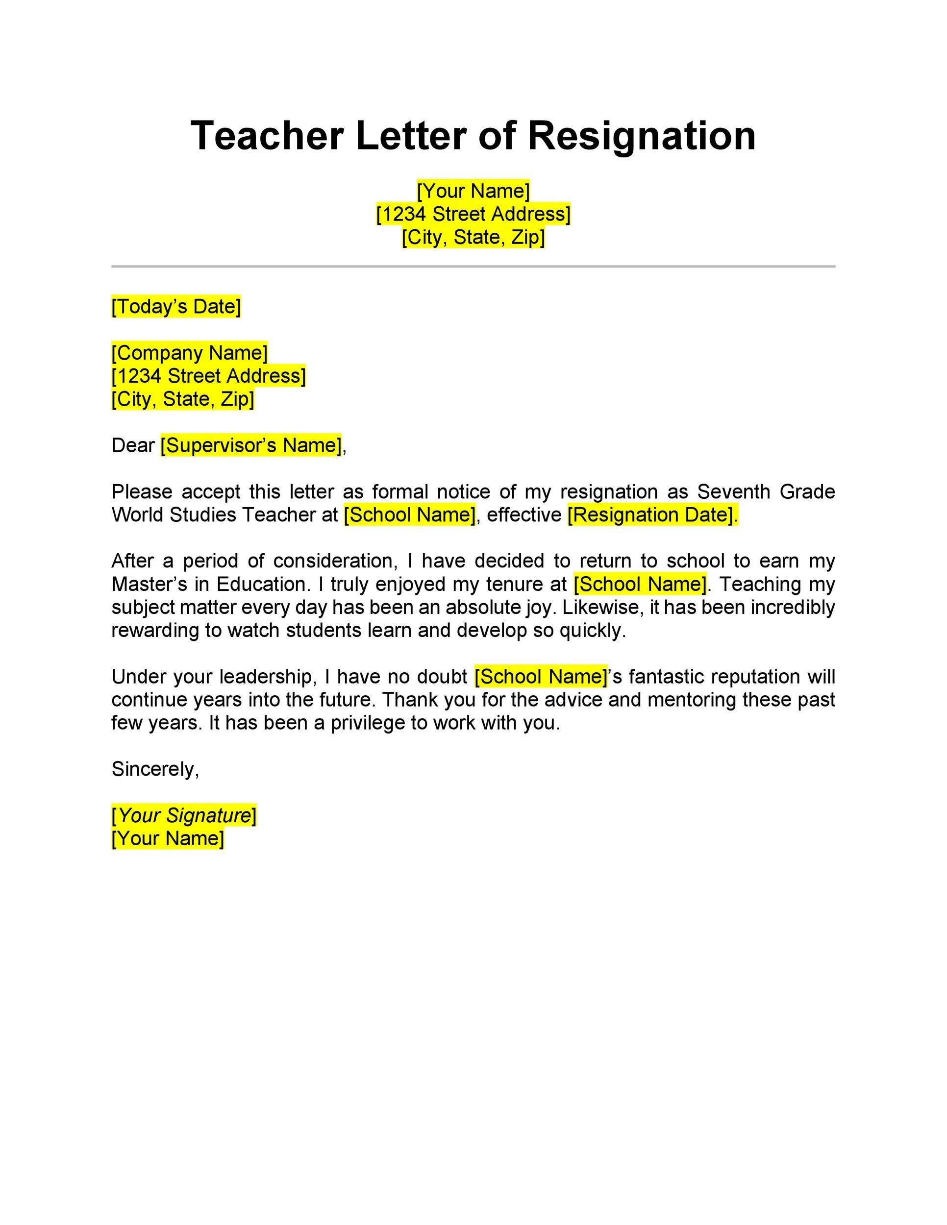 Free teacher resignation letter 05