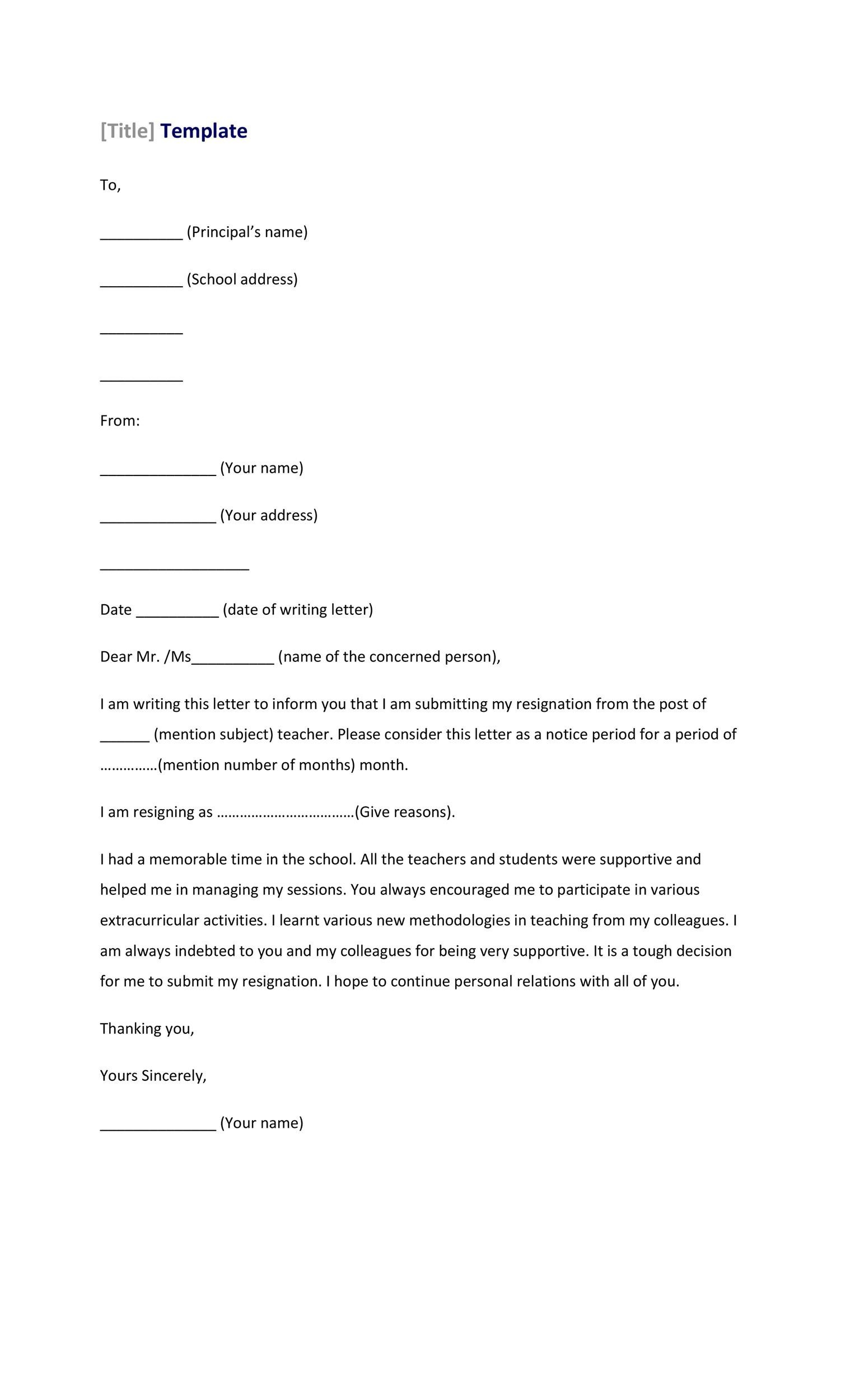 Free teacher resignation letter 06