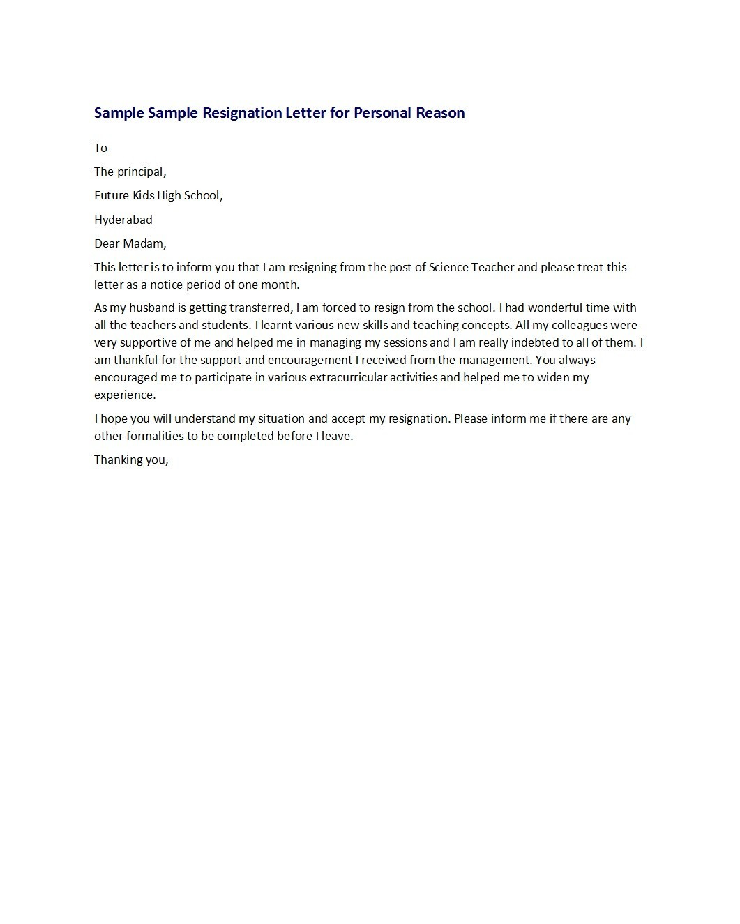 Resign Letter Sample For Personal Reason from templatelab.com
