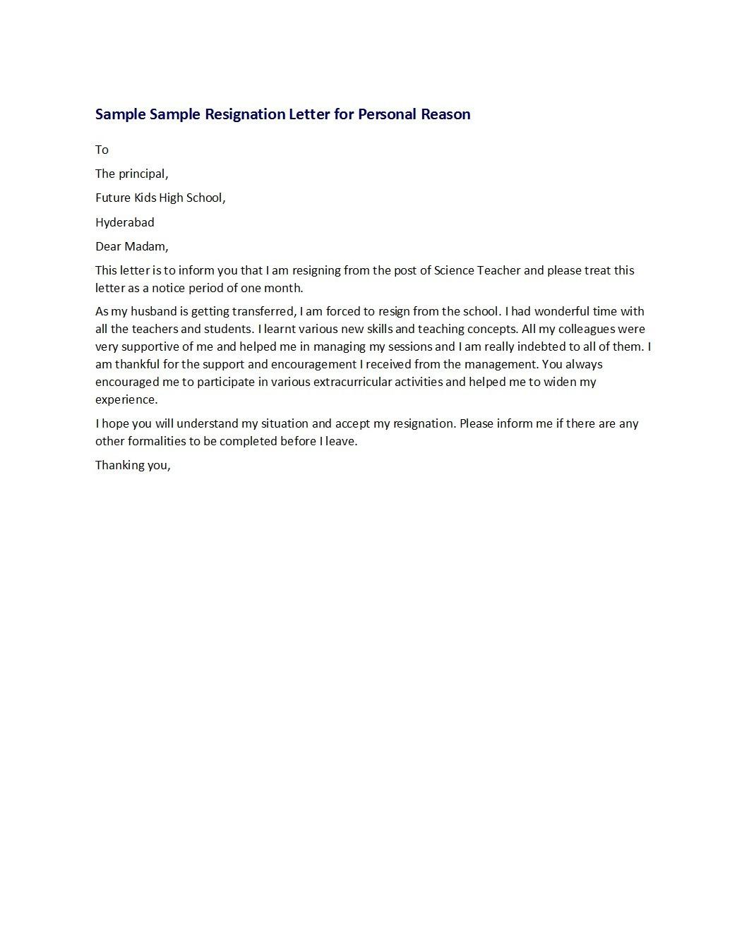 Free teacher resignation letter 07