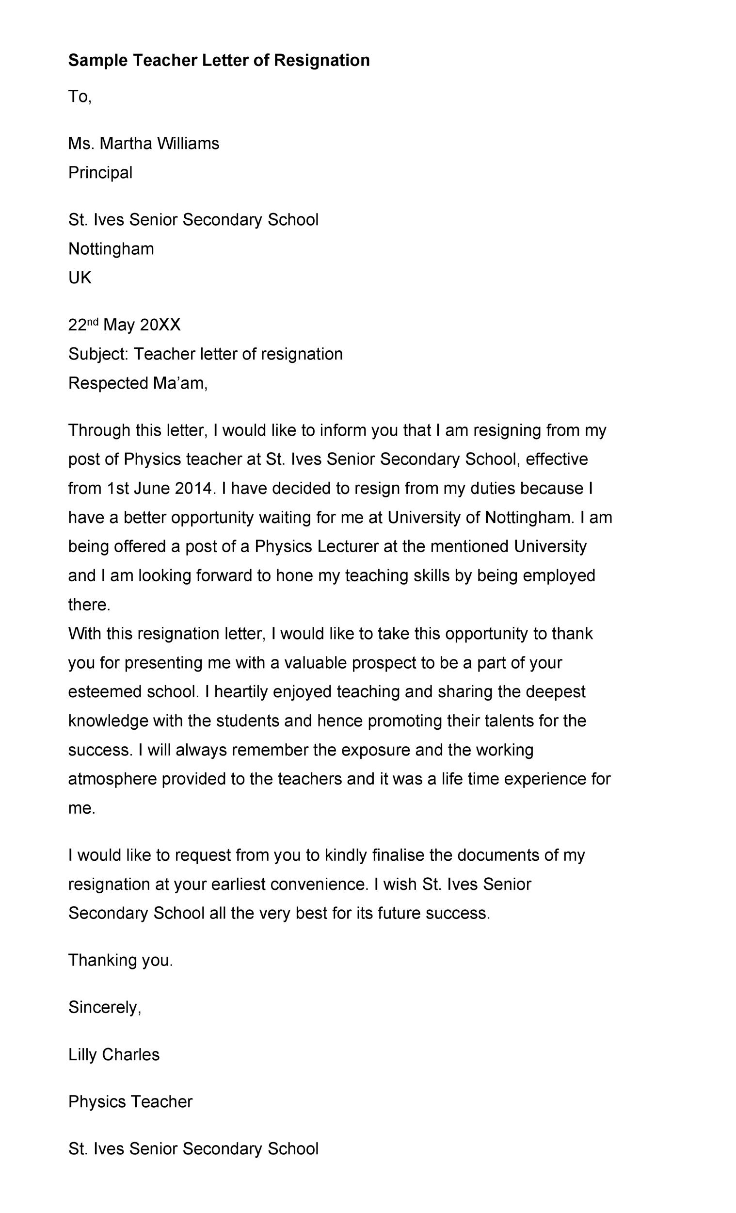 Free teacher resignation letter 08