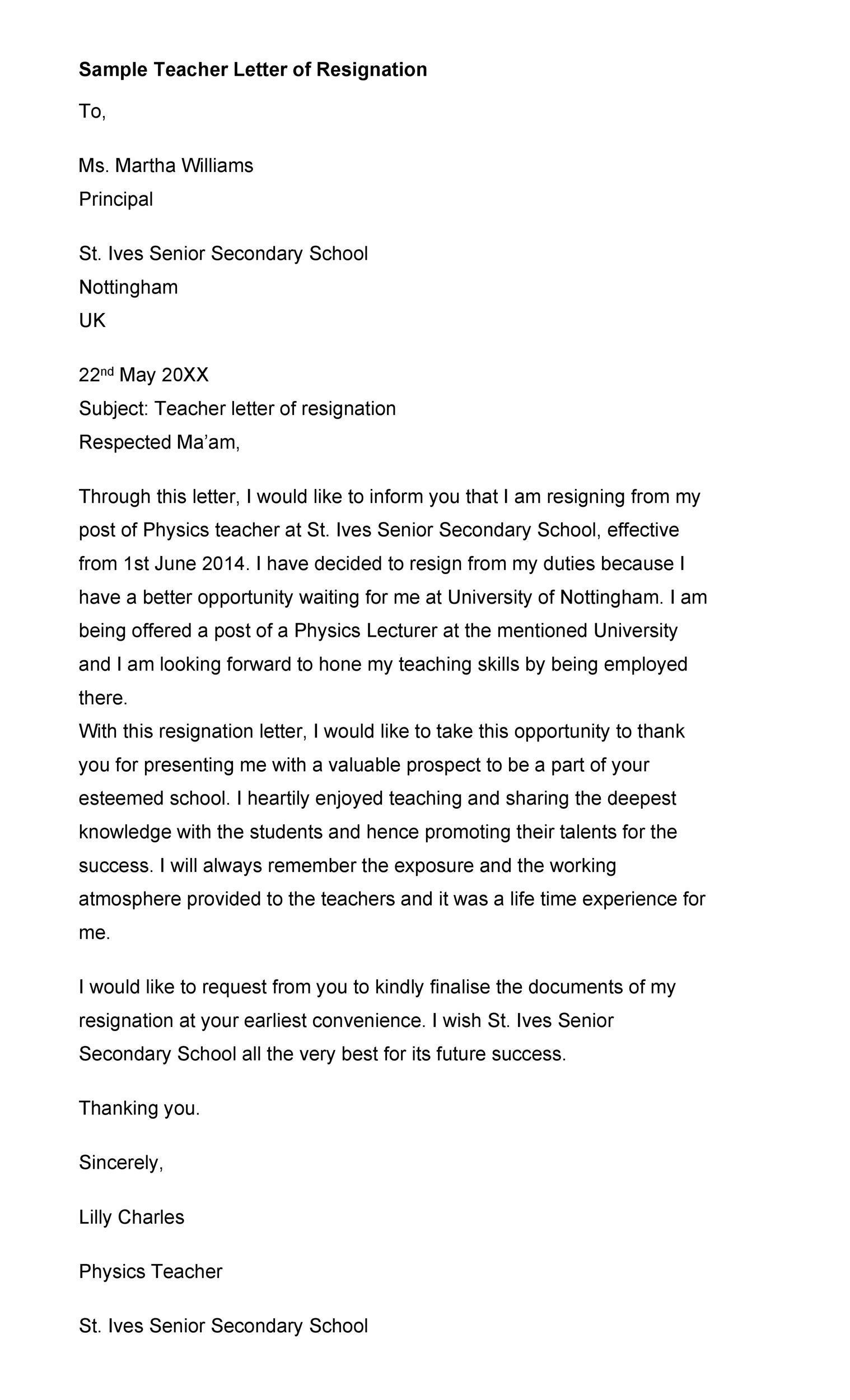 Free teacher resignation letter 08