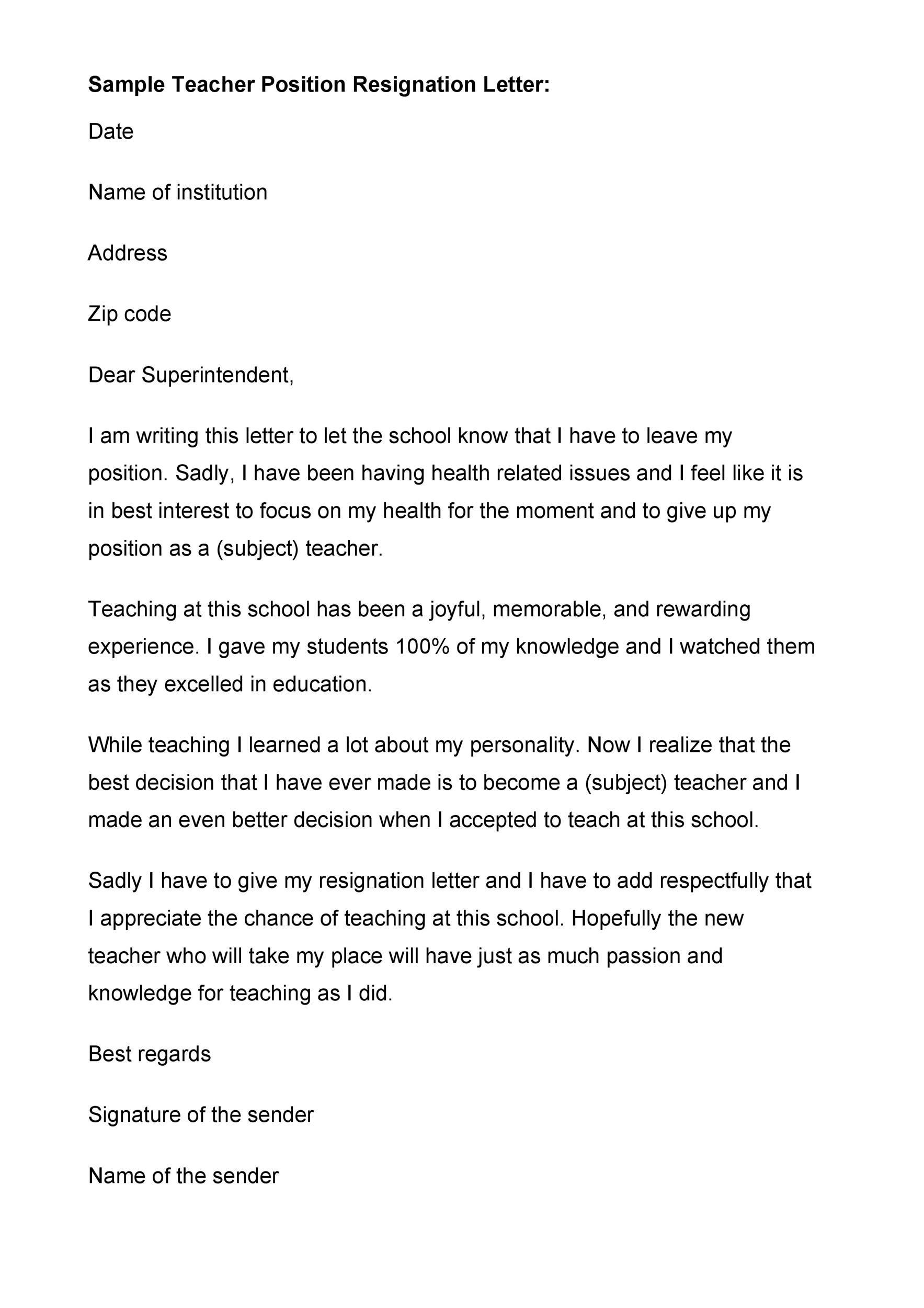 Free teacher resignation letter 10