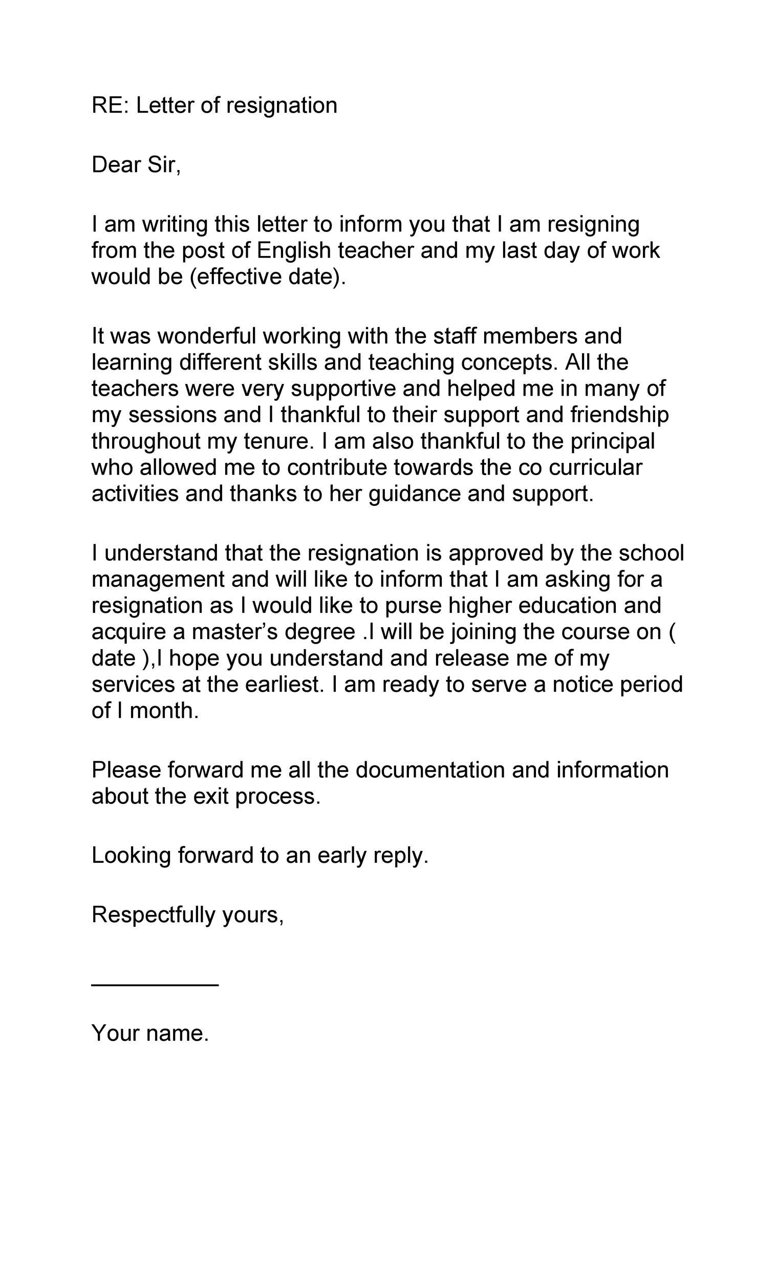 Free teacher resignation letter 12