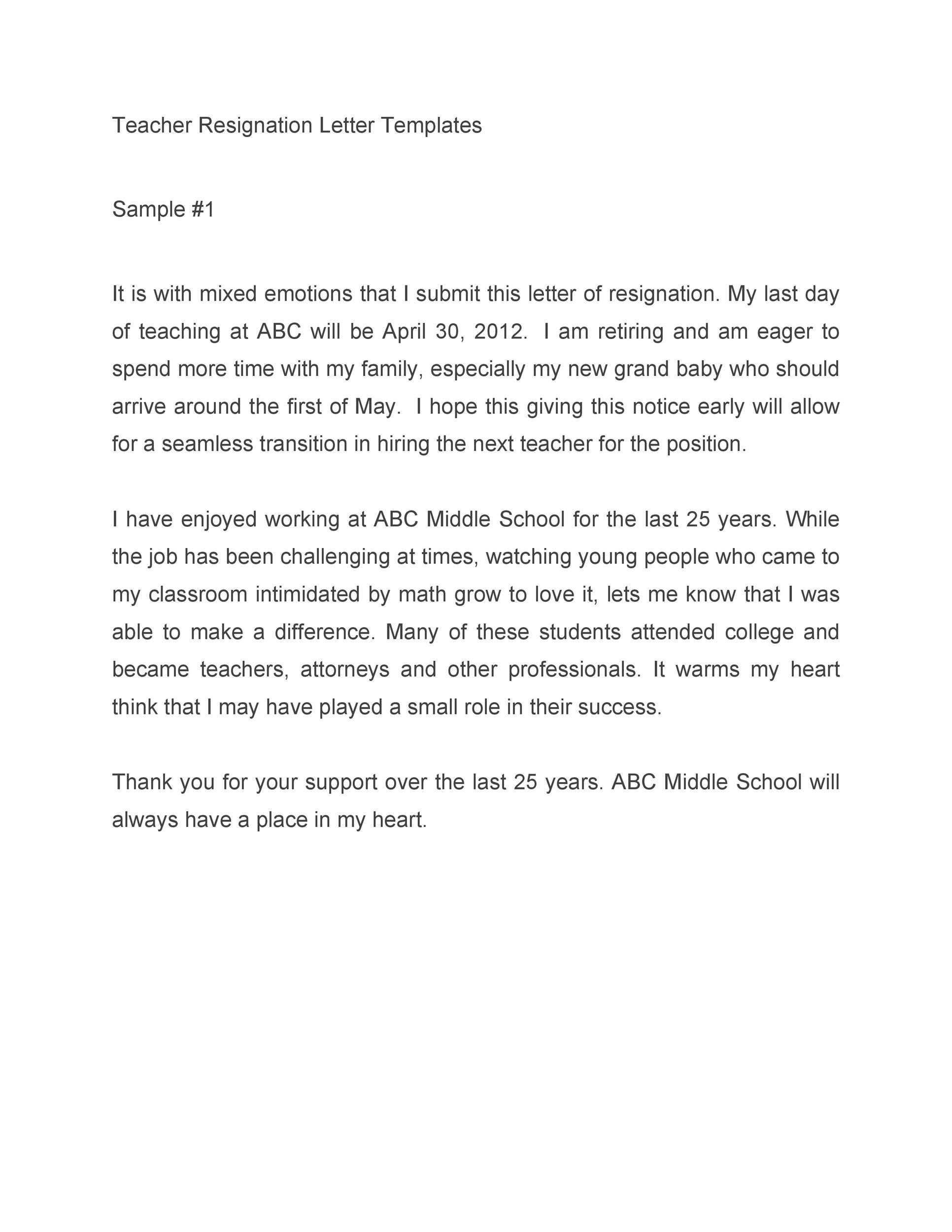 Free teacher resignation letter 13