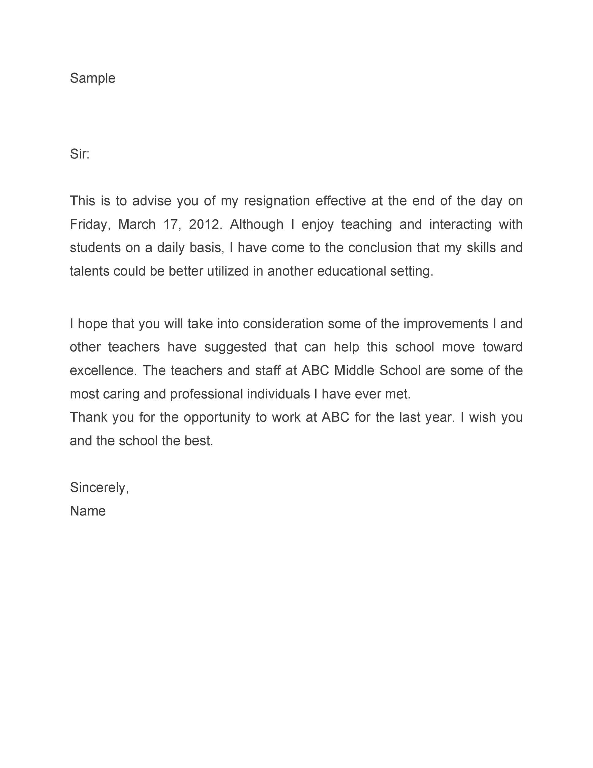 Free teacher resignation letter 14