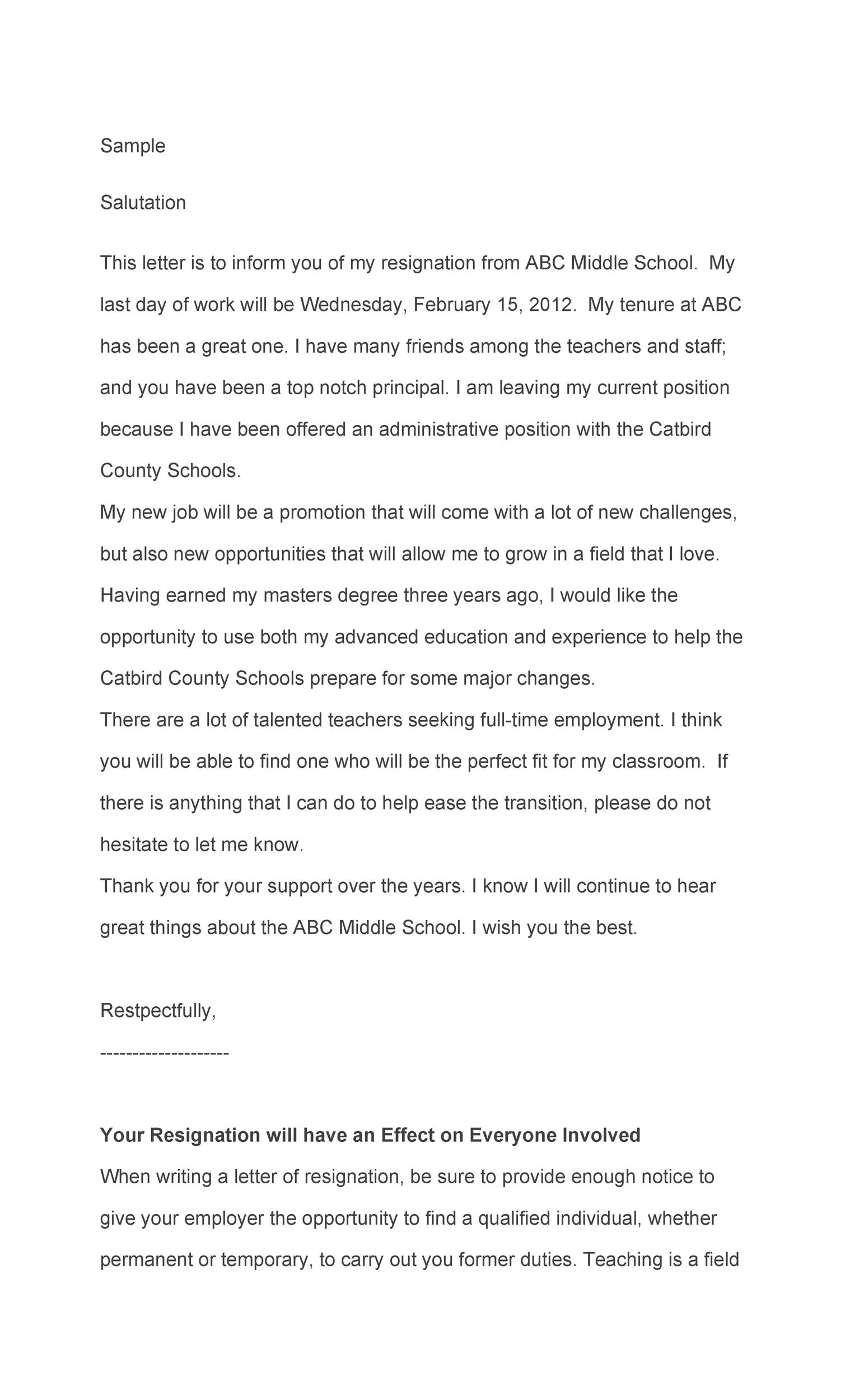 Free teacher resignation letter 15