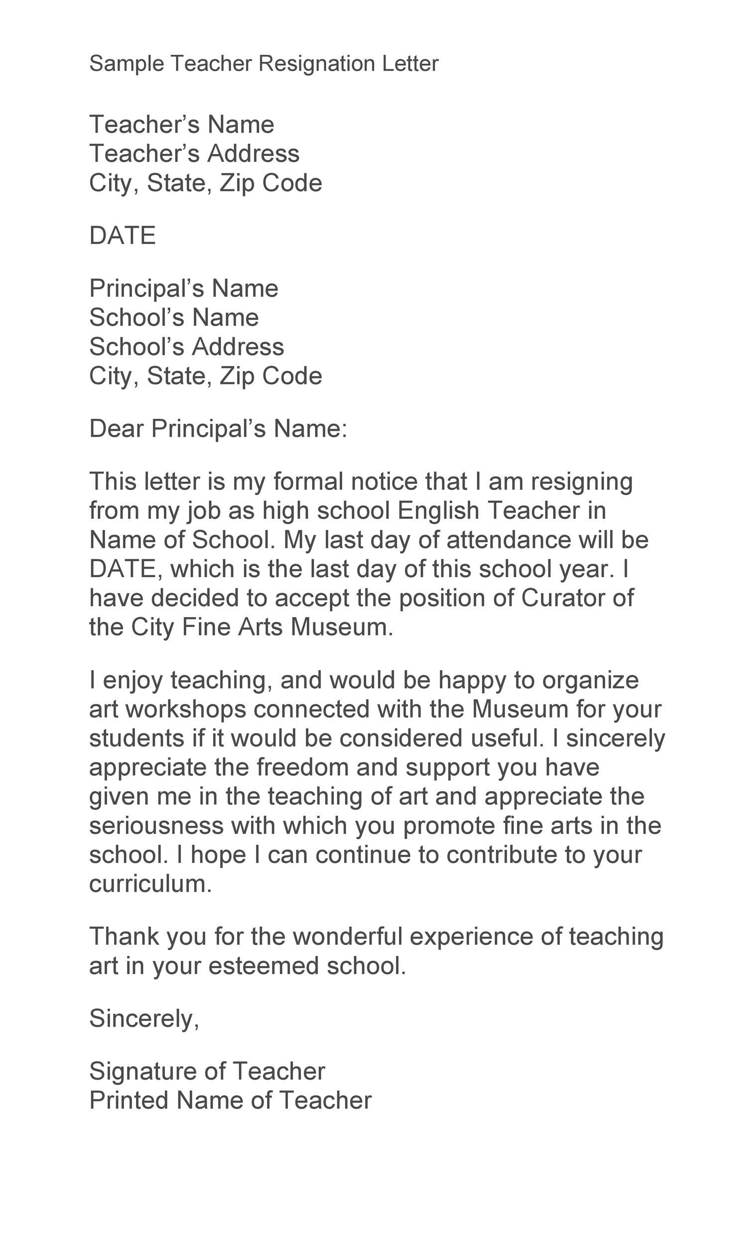 Free teacher resignation letter 16