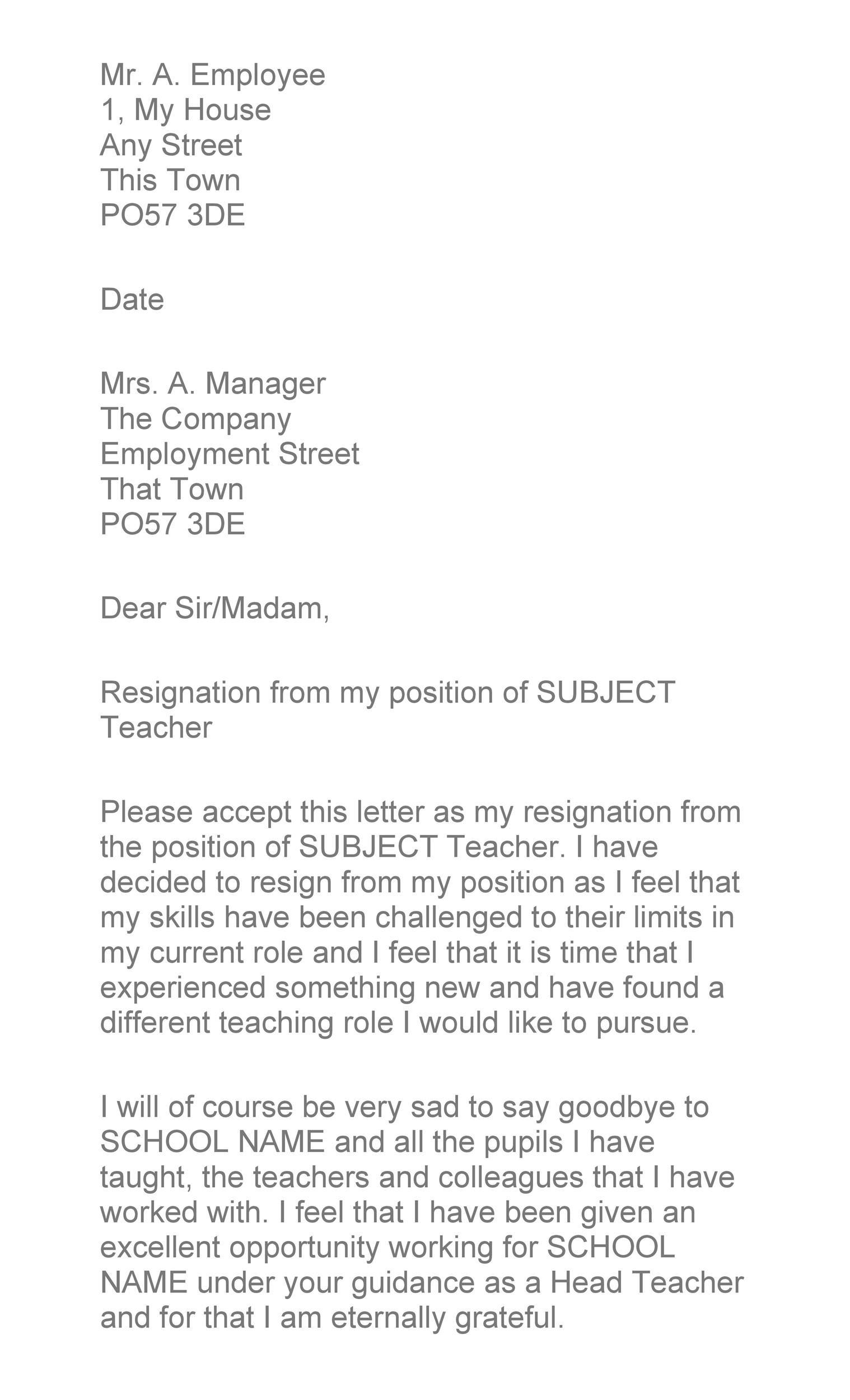 Free teacher resignation letter 17