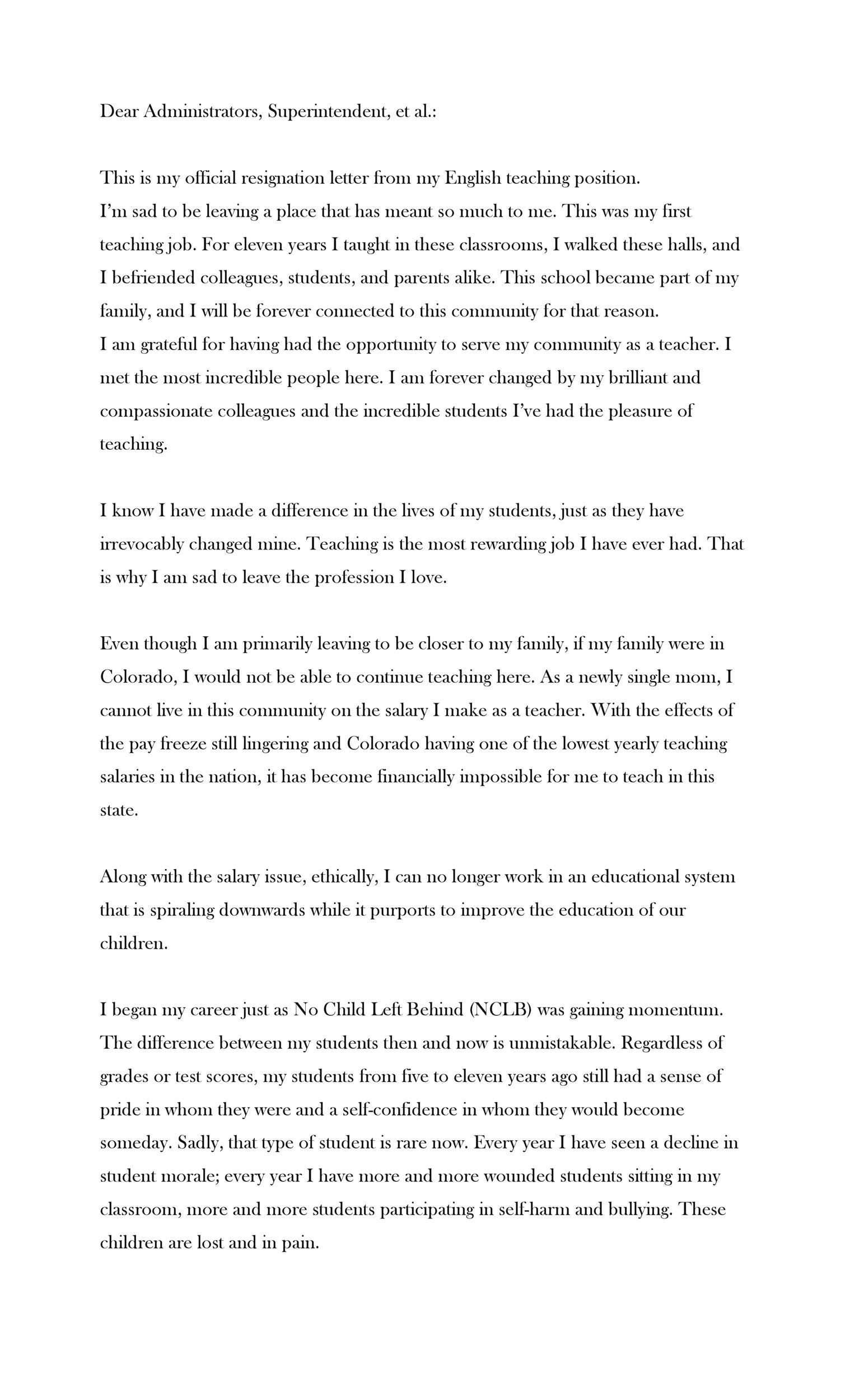 Free teacher resignation letter 19
