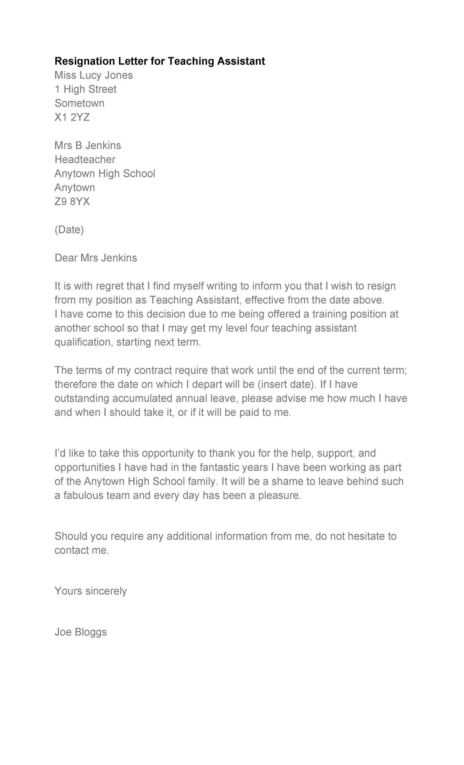 Free teacher resignation letter 20