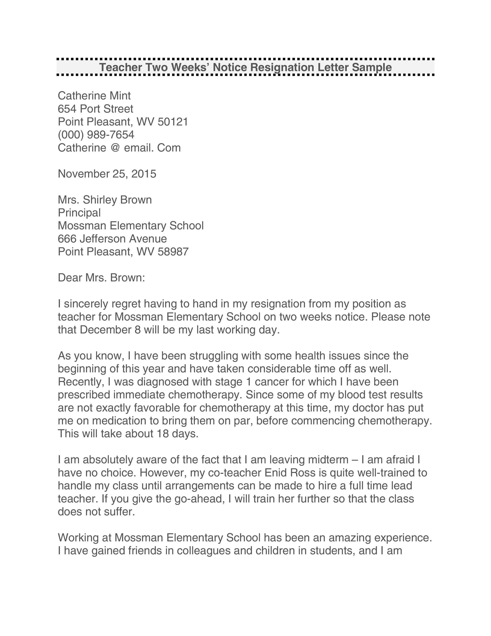 Free teacher resignation letter 23