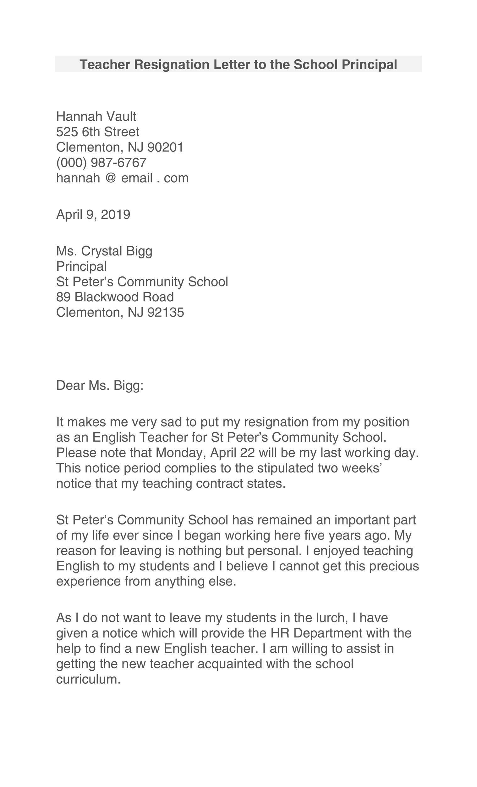 Free teacher resignation letter 24