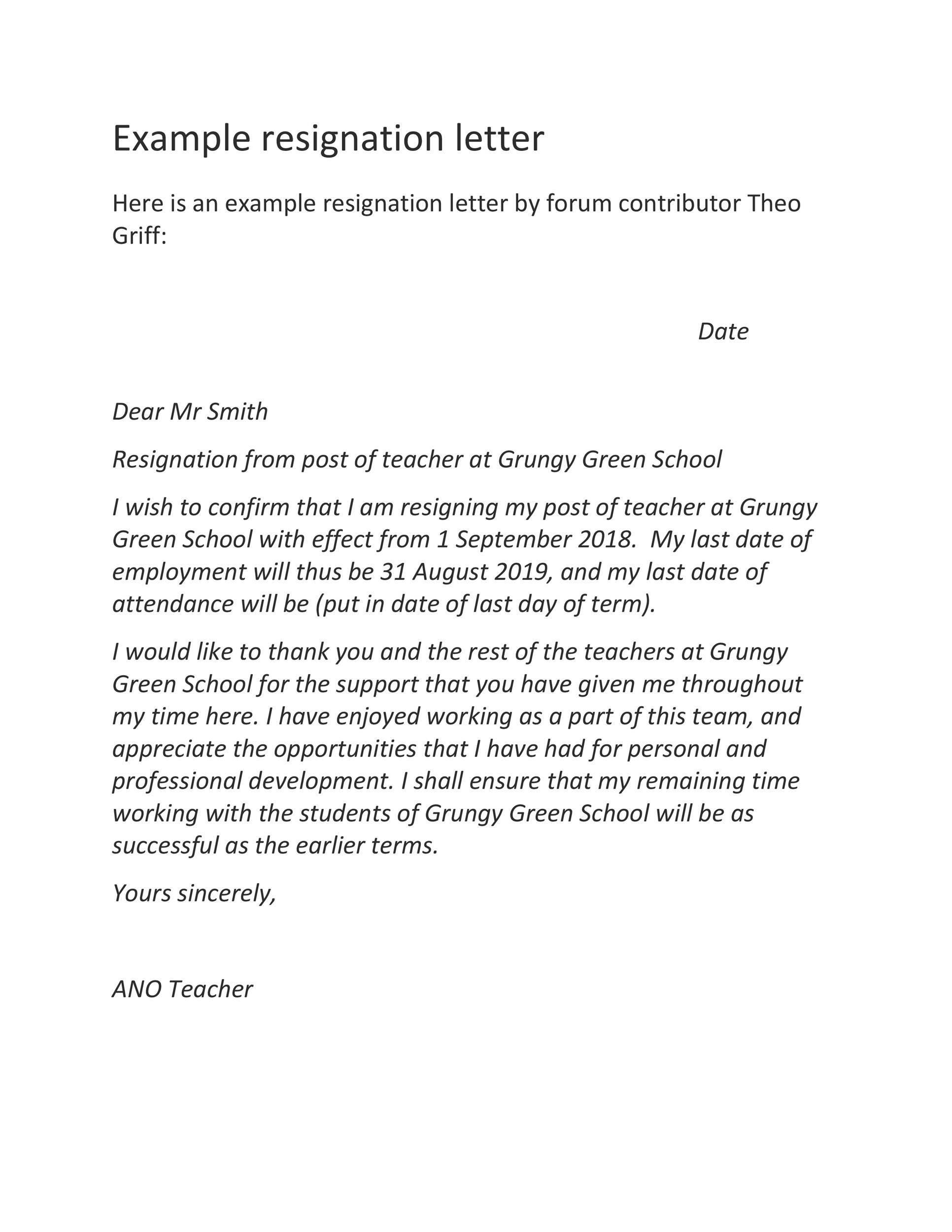 Free teacher resignation letter 30