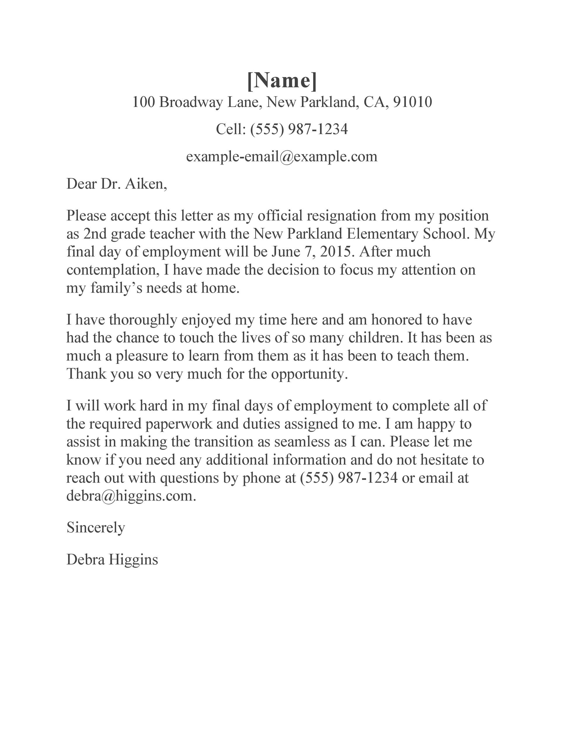 Free teacher resignation letter 31