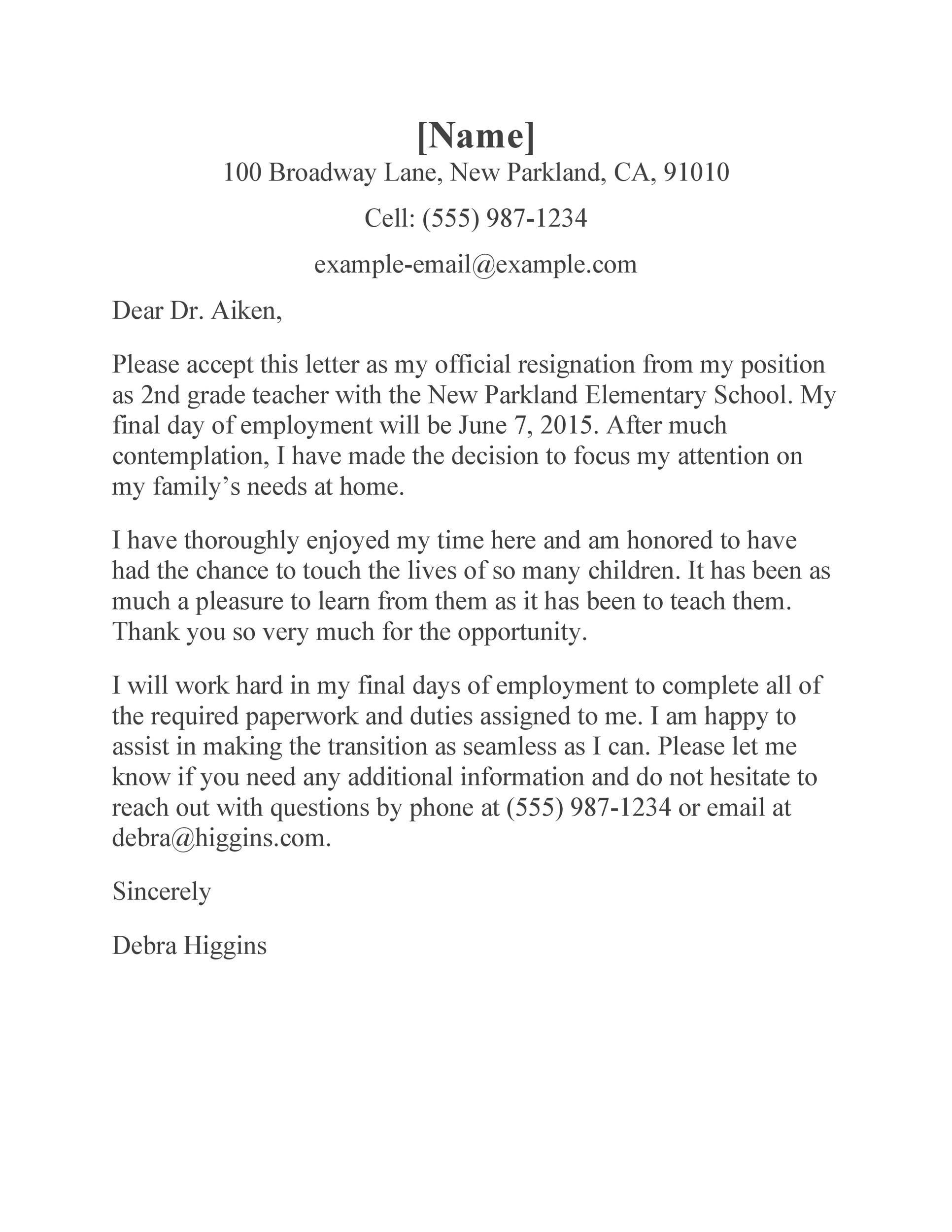 Free teacher resignation letter 31