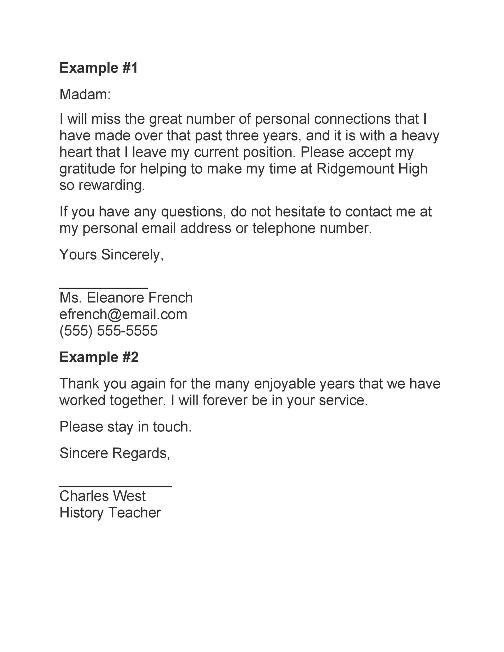 Free teacher resignation letter 32