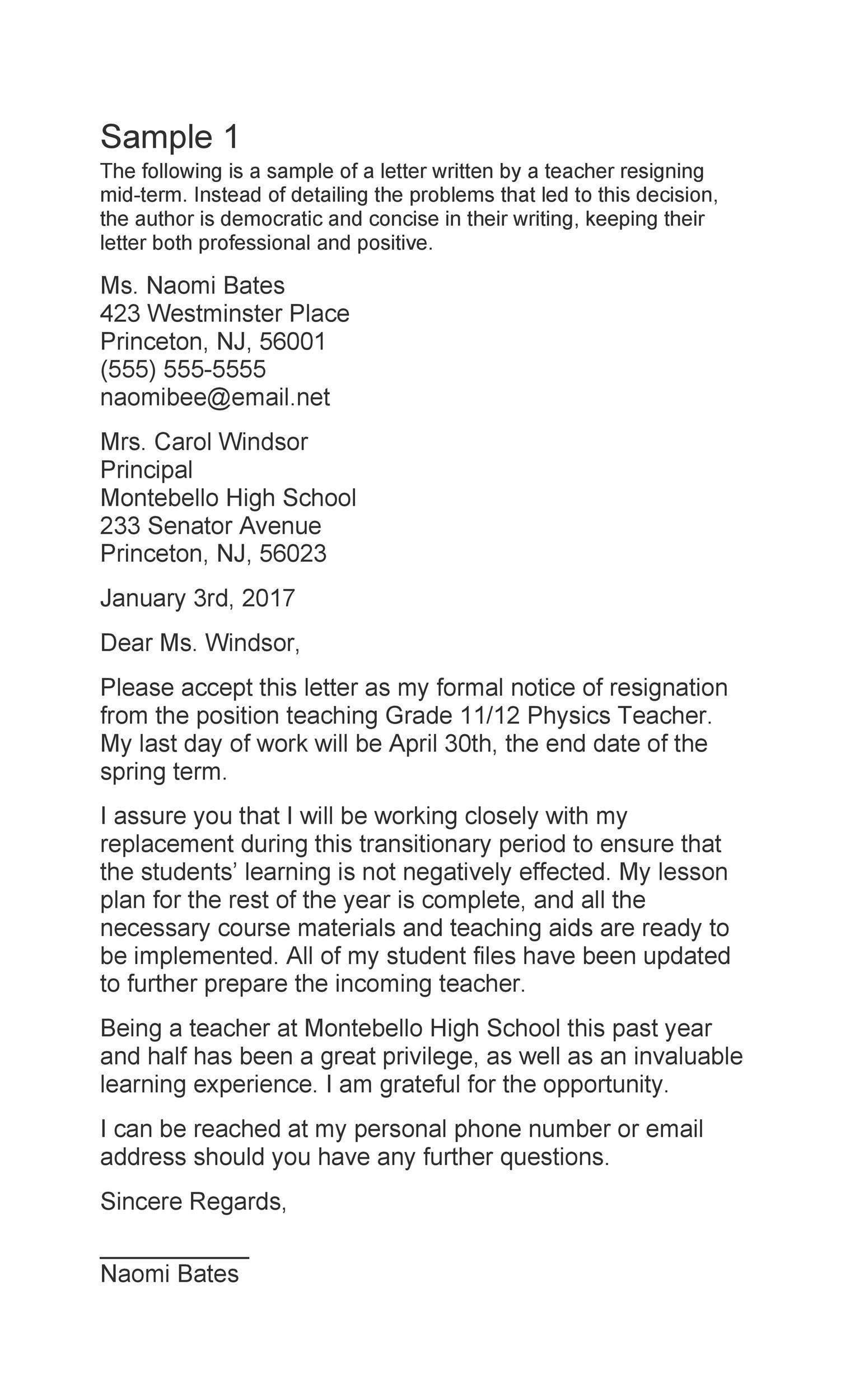 Free teacher resignation letter 33
