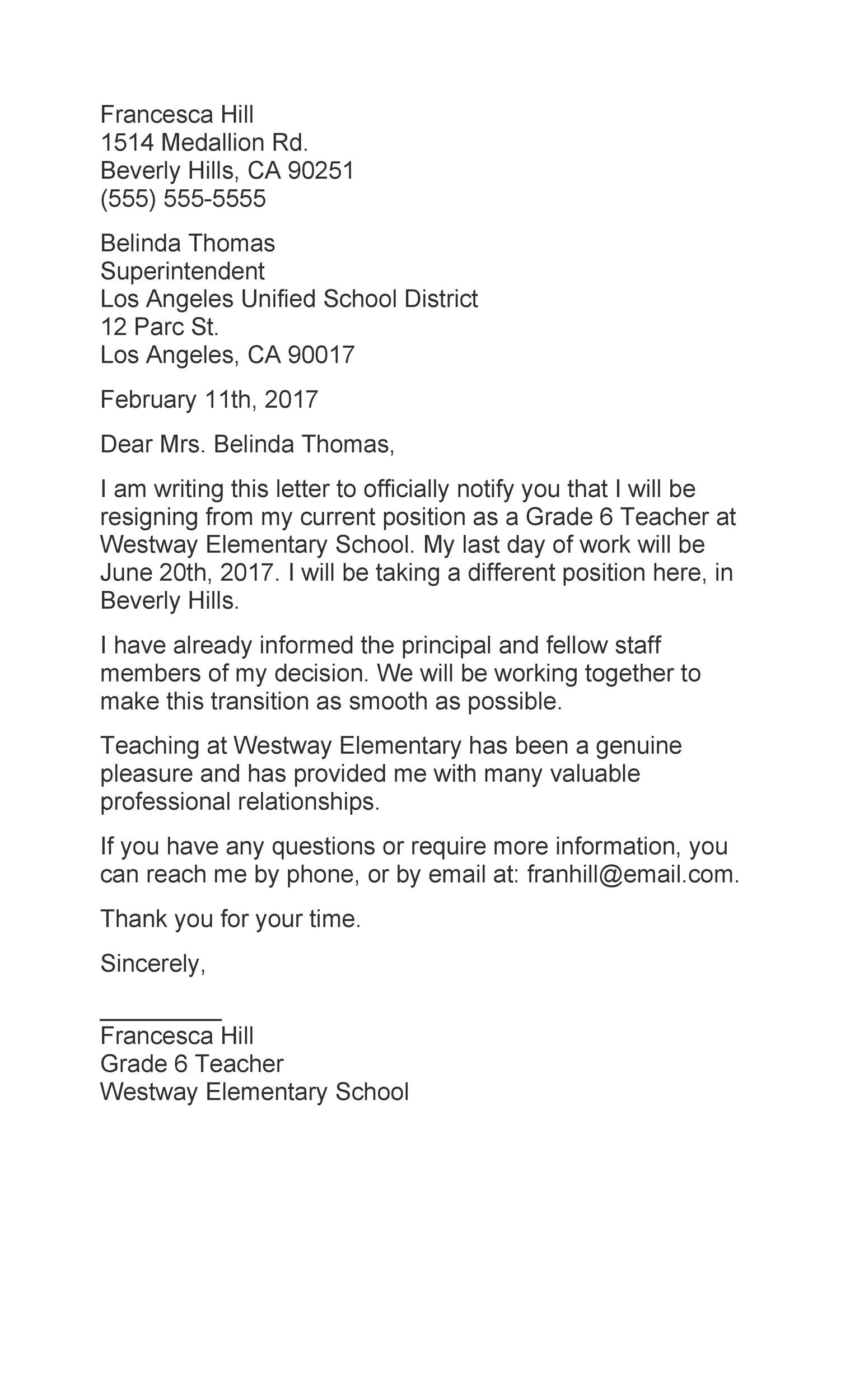 Free teacher resignation letter 34