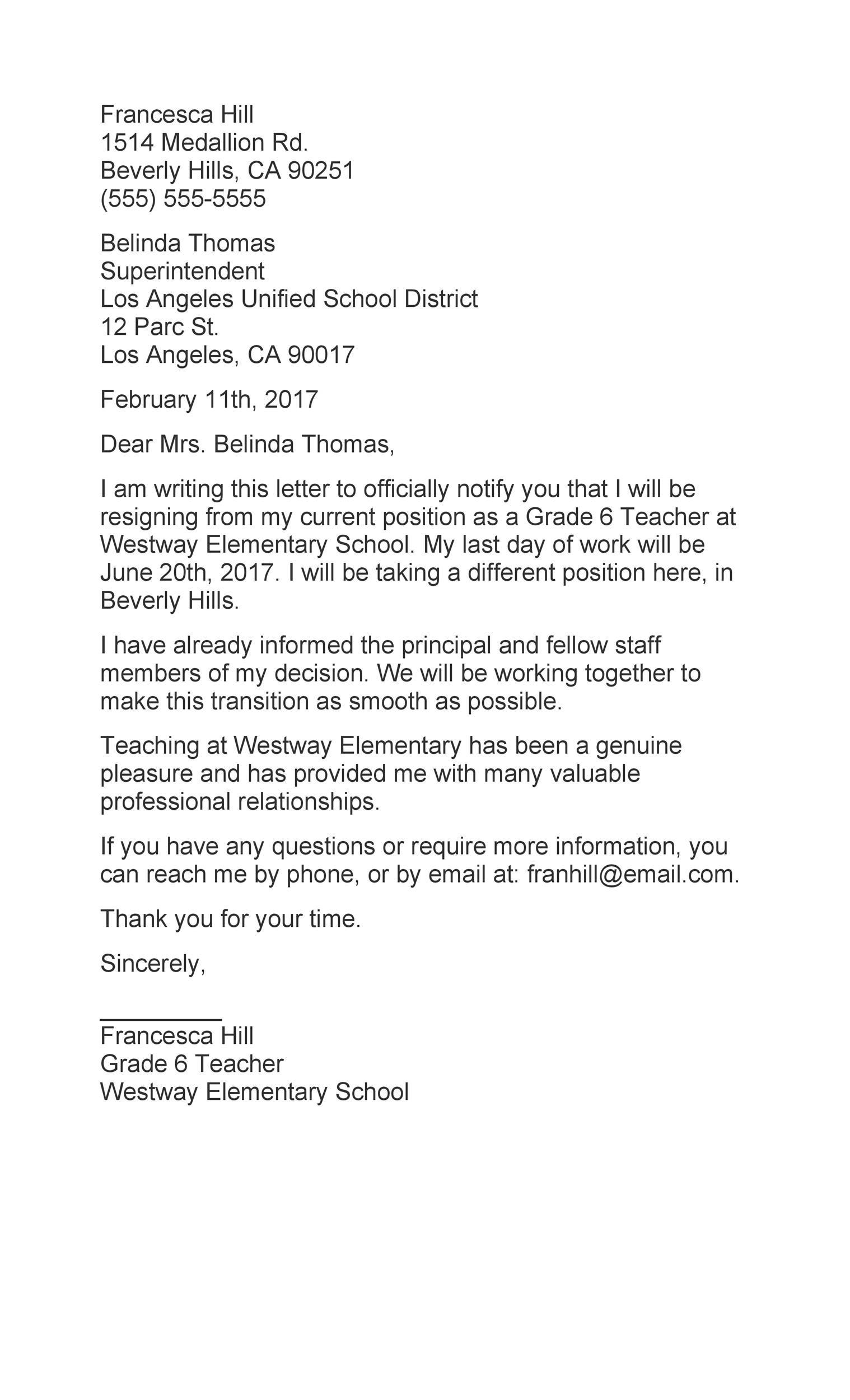 Free teacher resignation letter 34