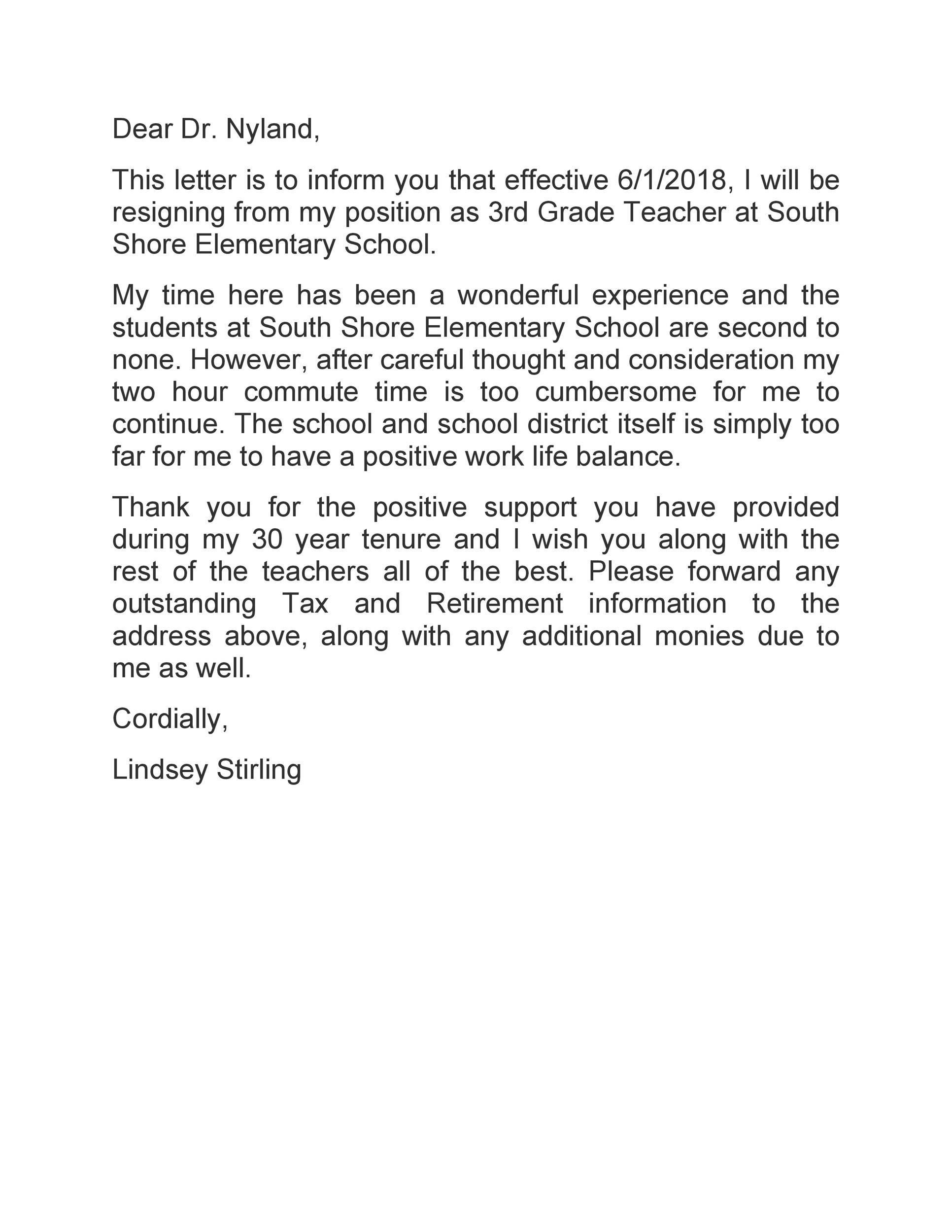 Free teacher resignation letter 35