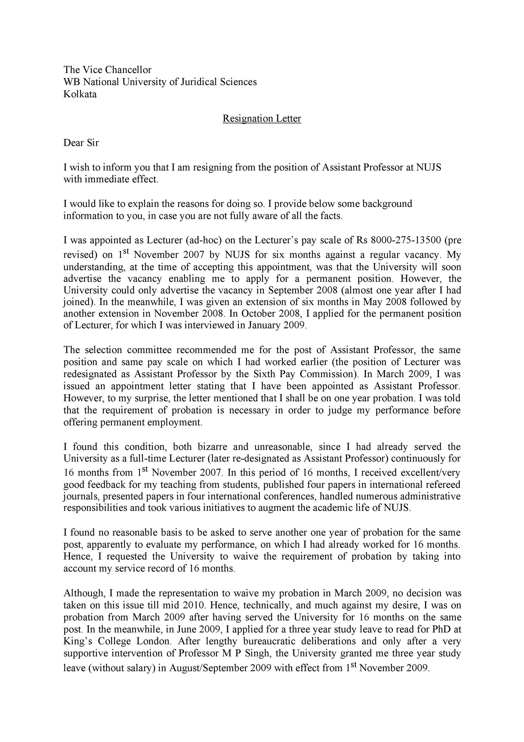 Free teacher resignation letter 36