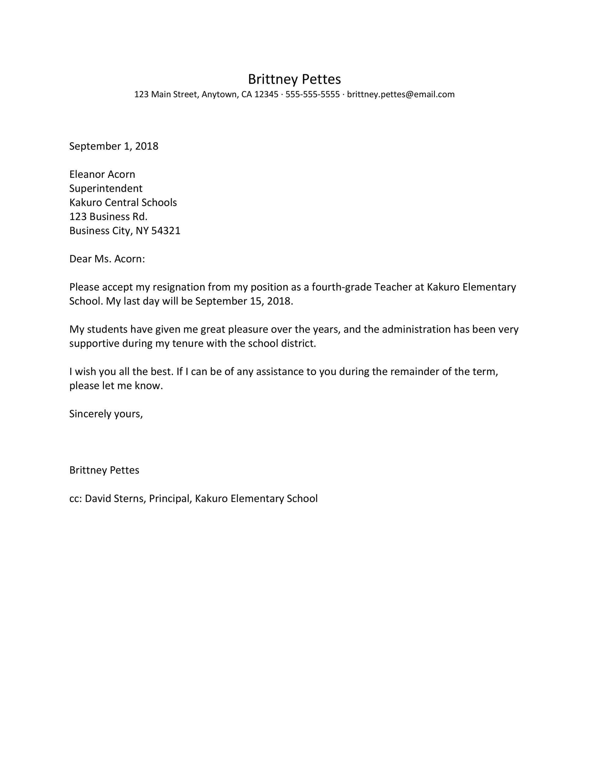 Free teacher resignation letter 37