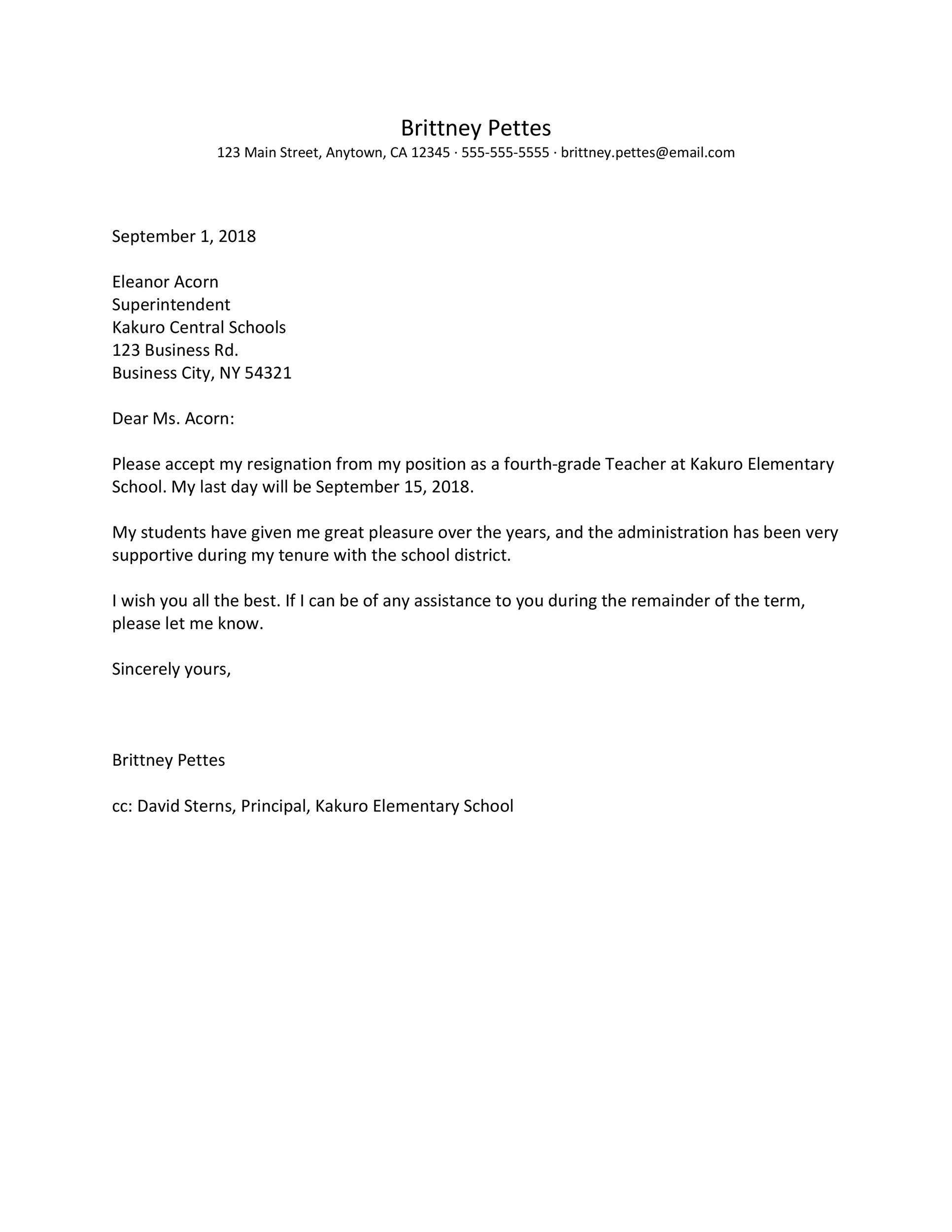 Free teacher resignation letter 37