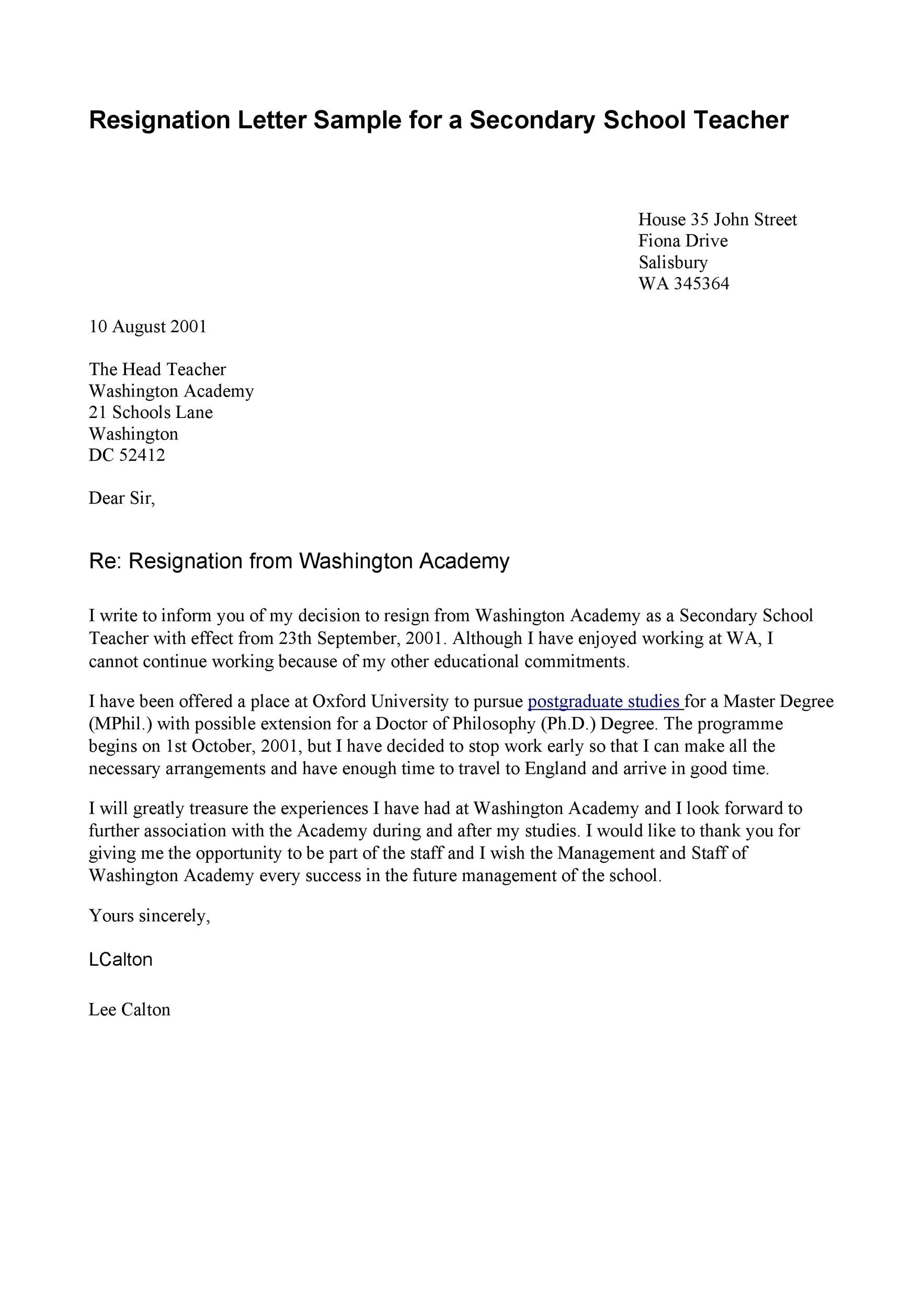 Free teacher resignation letter 39