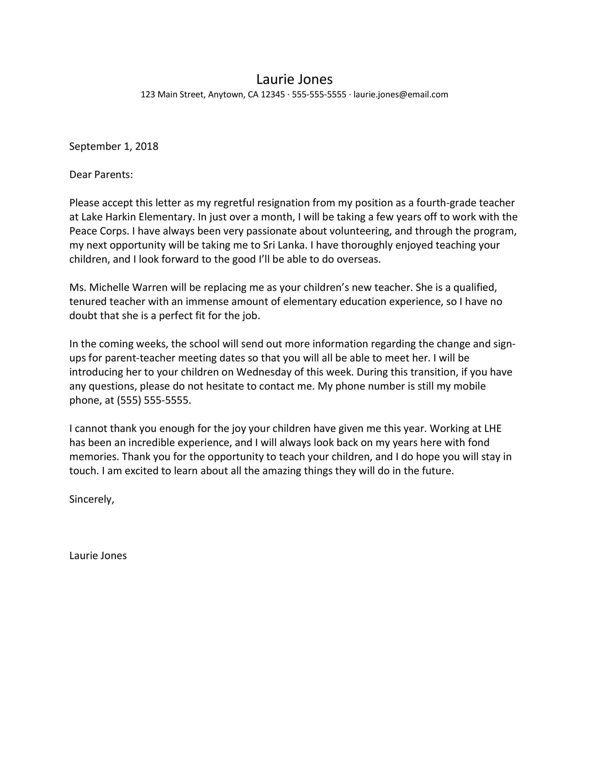 Free teacher resignation letter 40