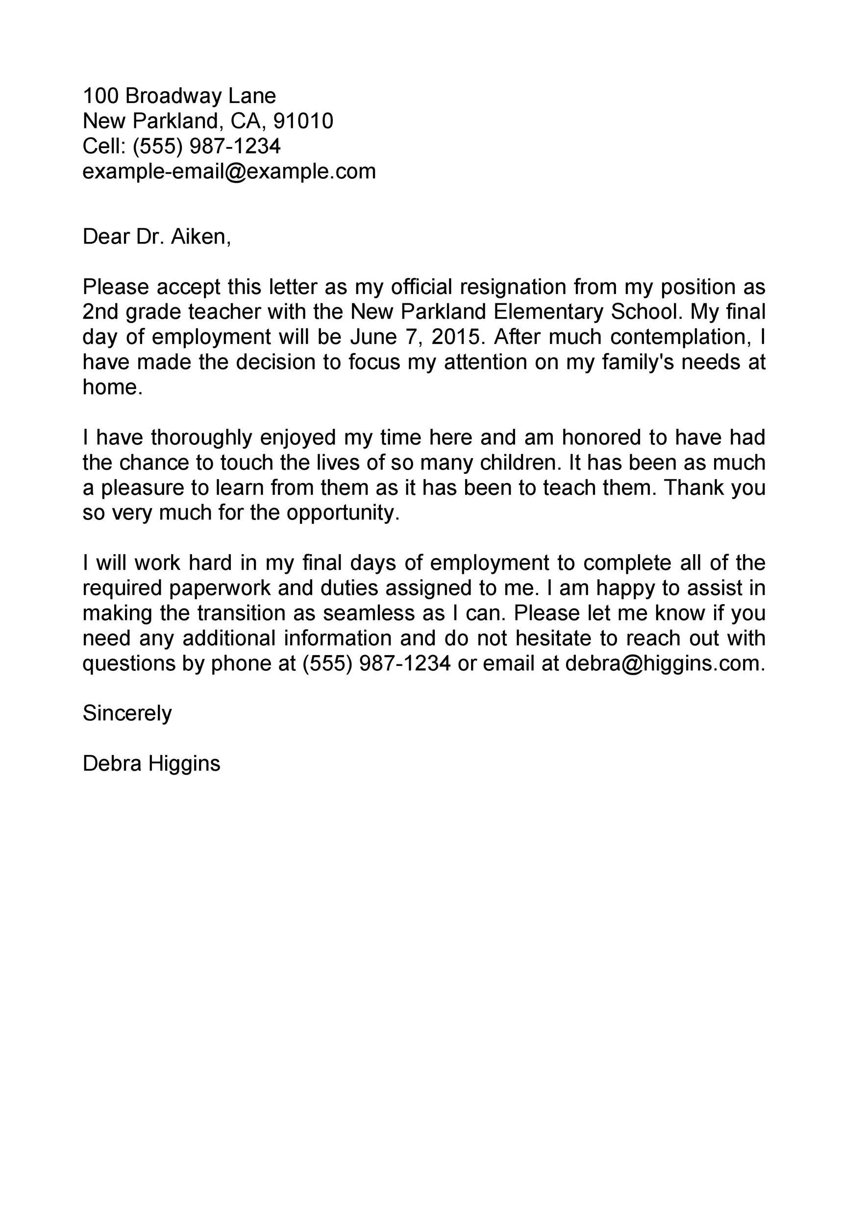 Free teacher resignation letter 43