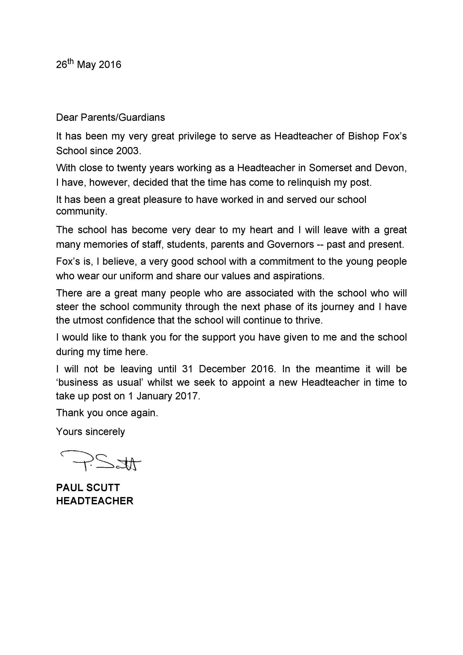 Free teacher resignation letter 44