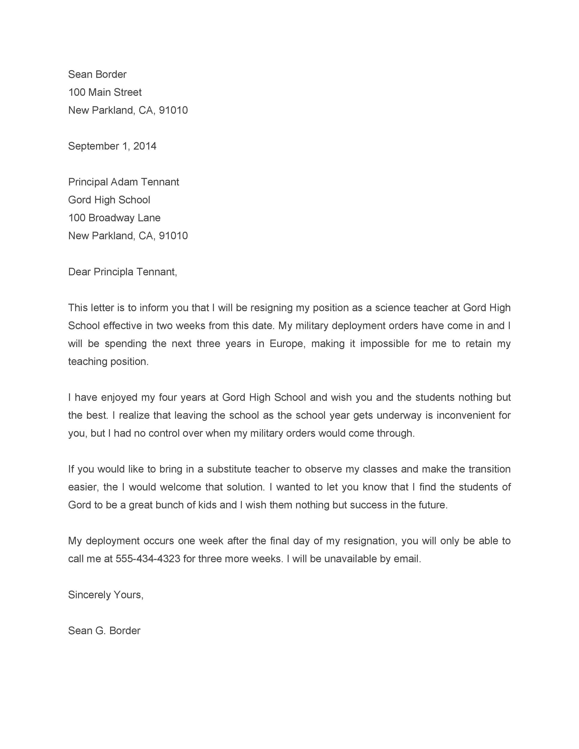 Free teacher resignation letter 45