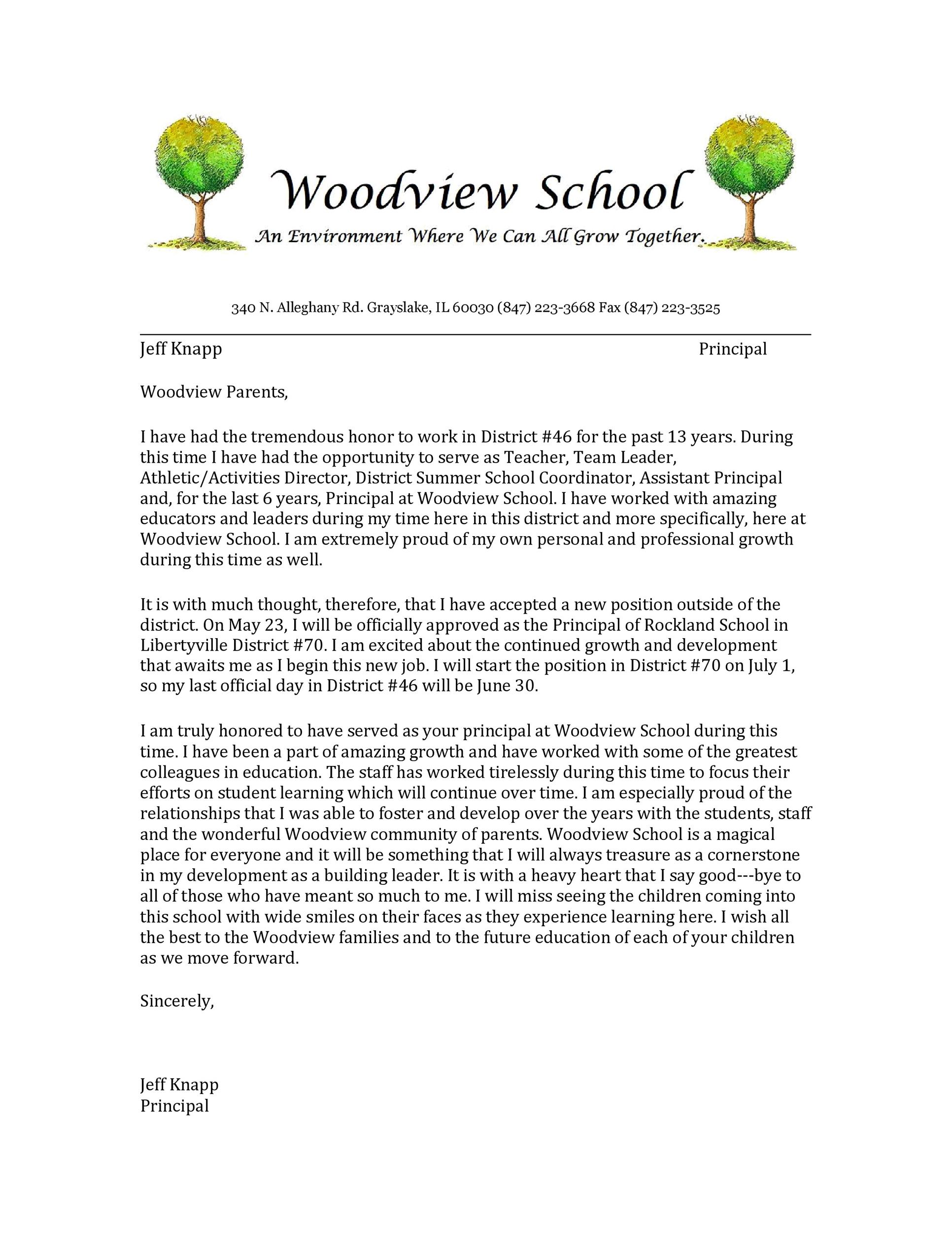 Free teacher resignation letter 47